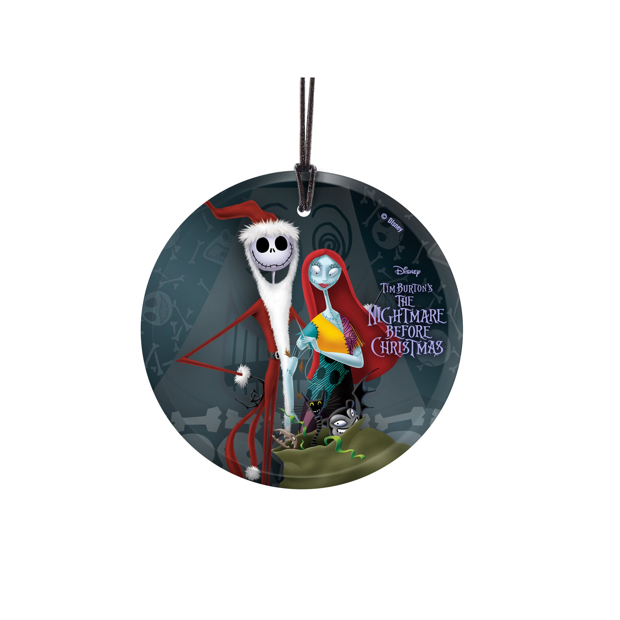 The nightmare before christmas ornaments - Nightmare Before Christmas Santa Jack And Sally Hanging Glass Ornament