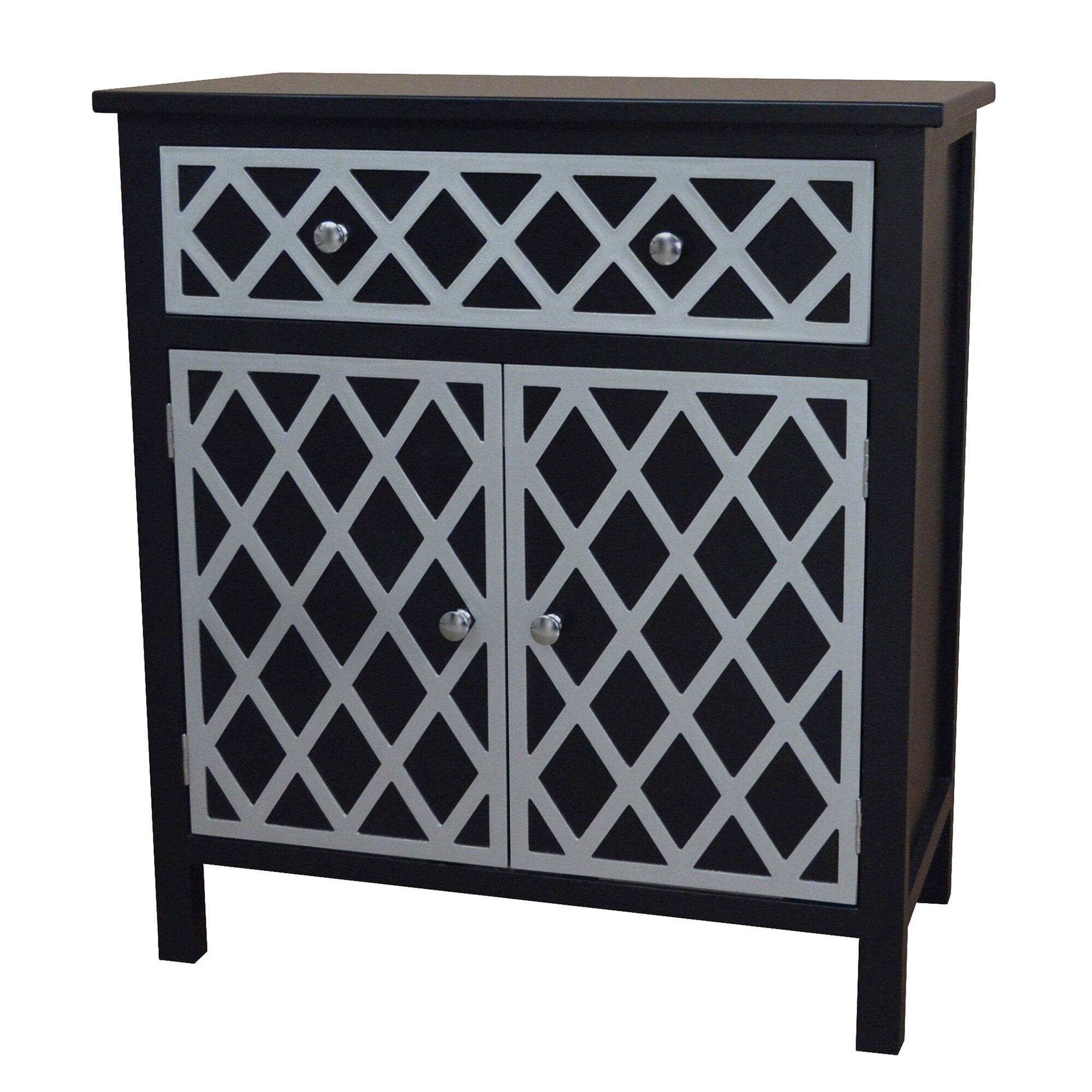 Gallerie decor trellis cabinet 1 drawer and 2 door chest for 1 drawer 2 door cabinet