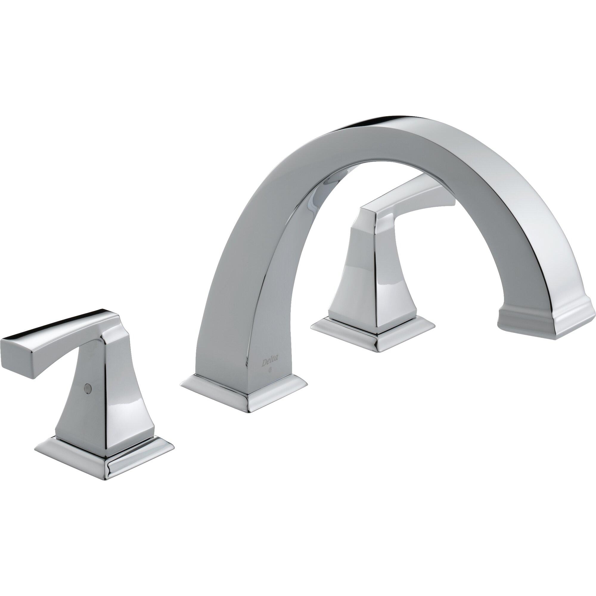 Delta Dryden Double Handle Deck Mount Roman Tub Faucet Trim - Wall mount roman tub filler