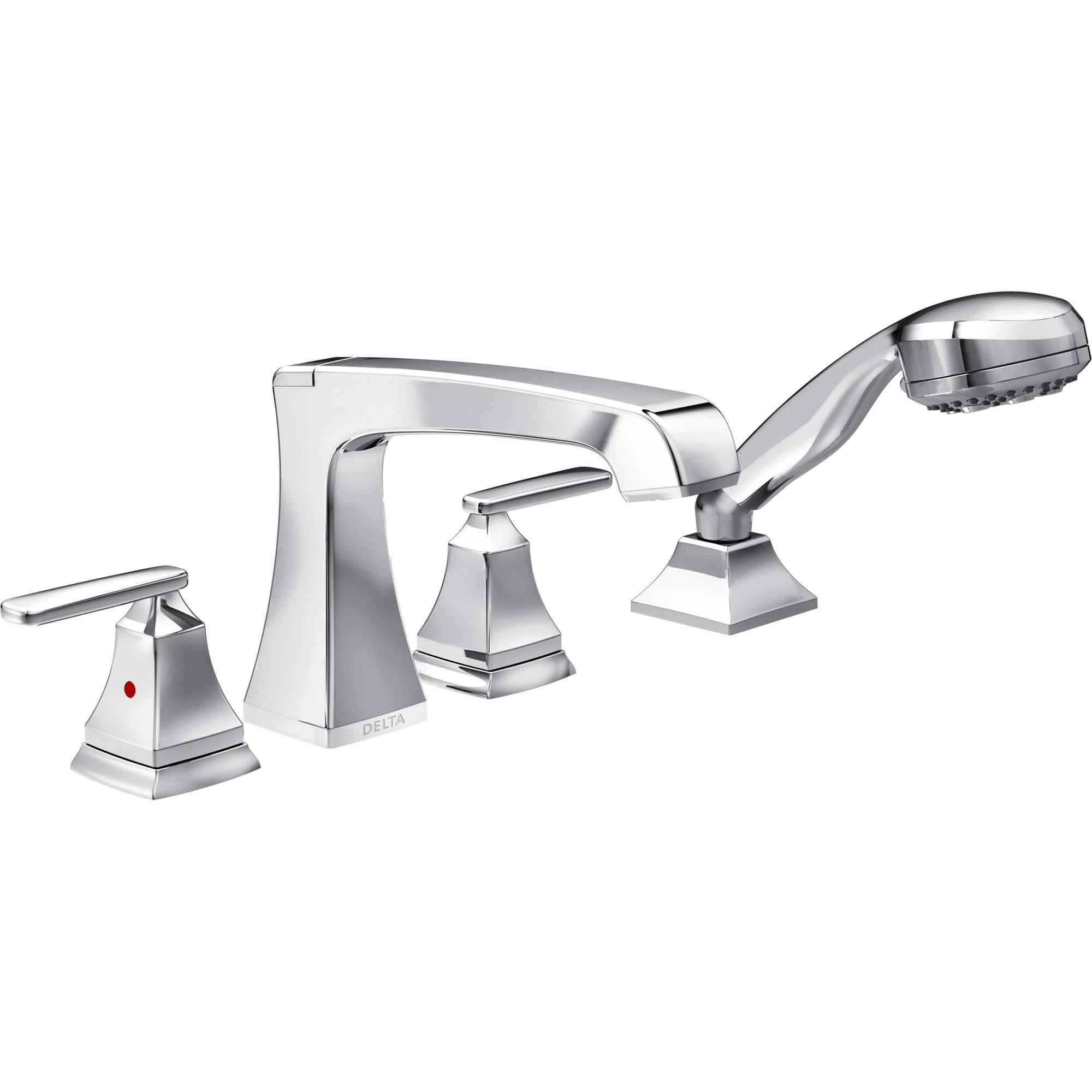 delta ashlyn roman two handle deck mount tub filler trim with hand