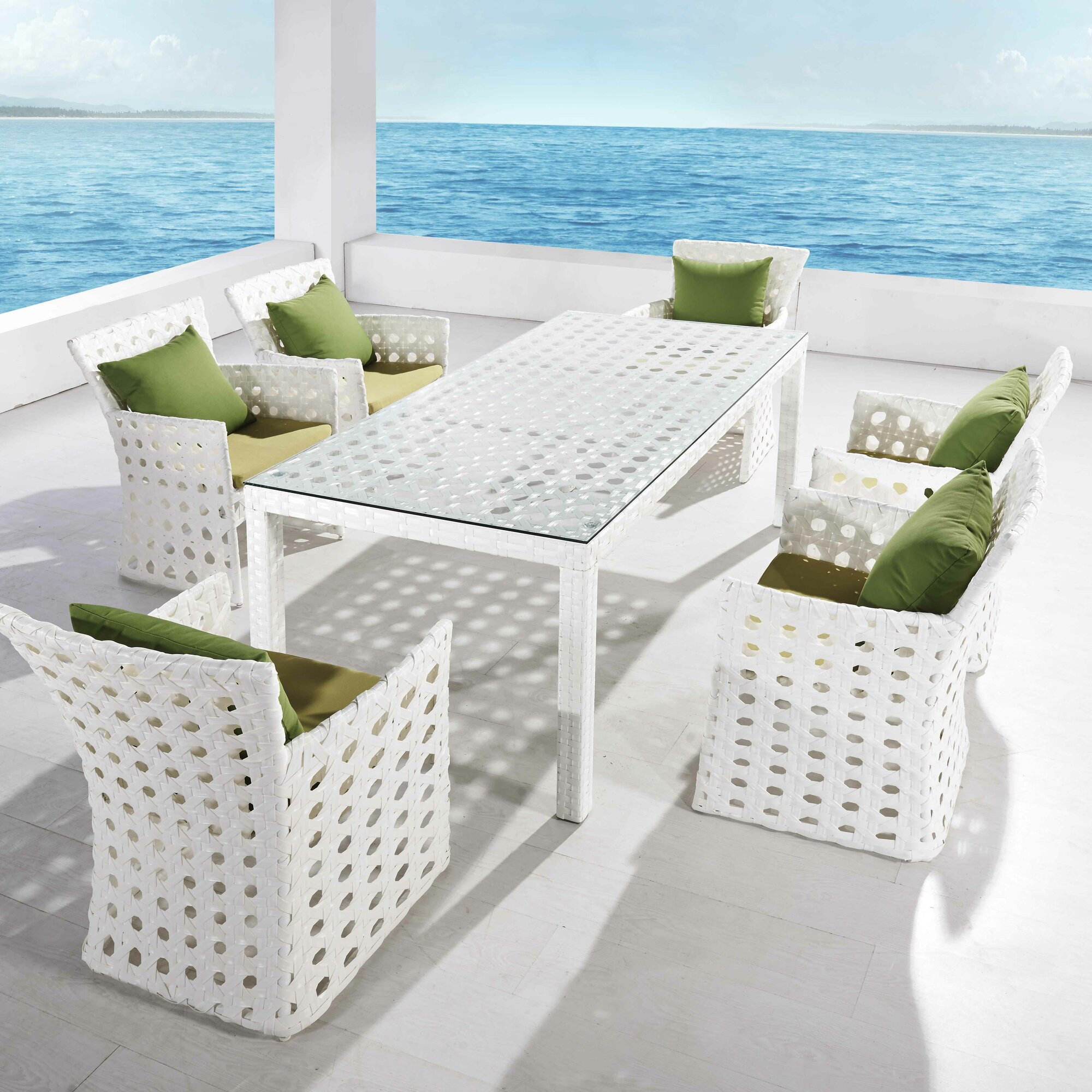 Orchard 7 Piece Dining Set with Cushions & Reviews