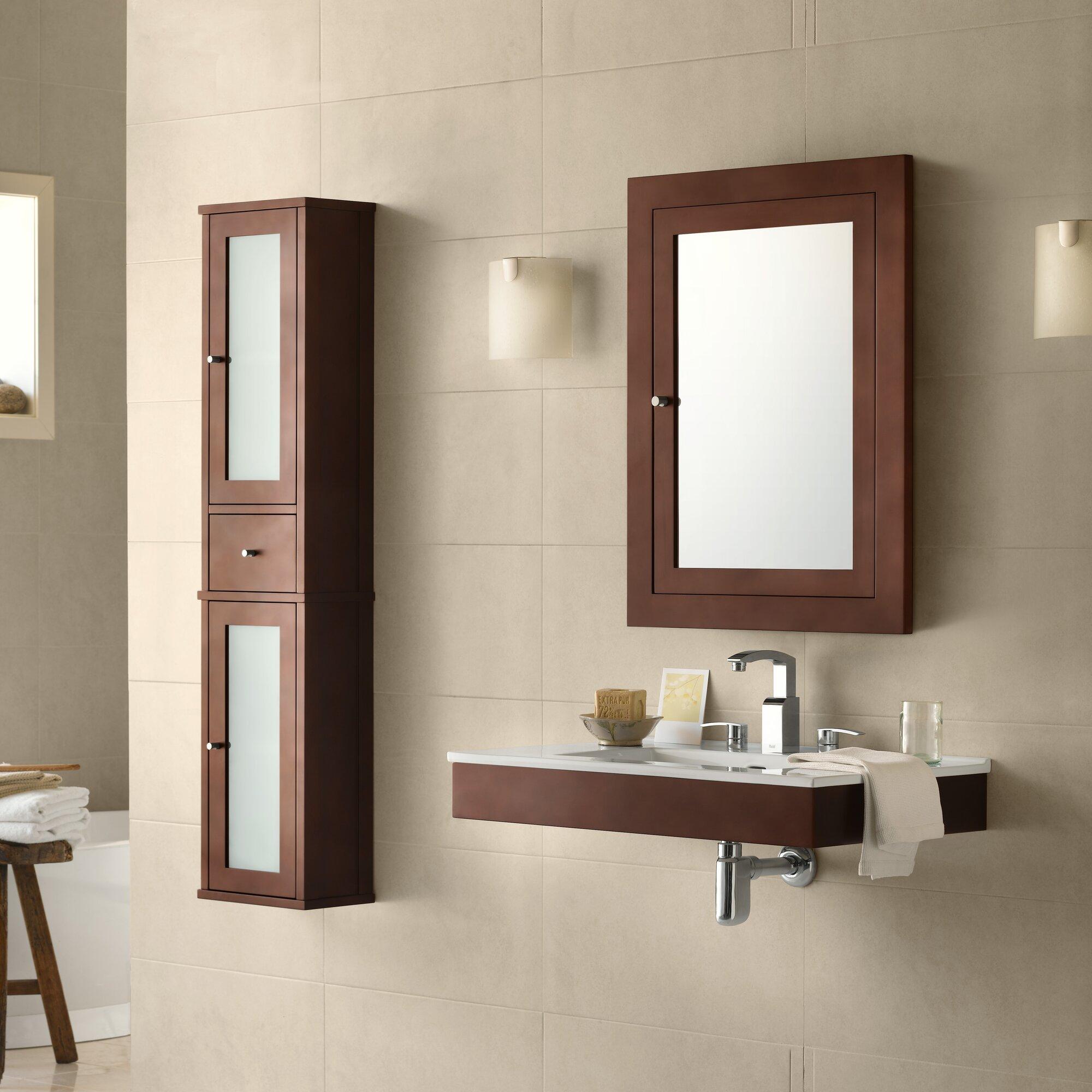 Ronbow adina 31 wall mount bathroom vanity base cabinet in dark cherry for Bathroom wall cabinets cherry