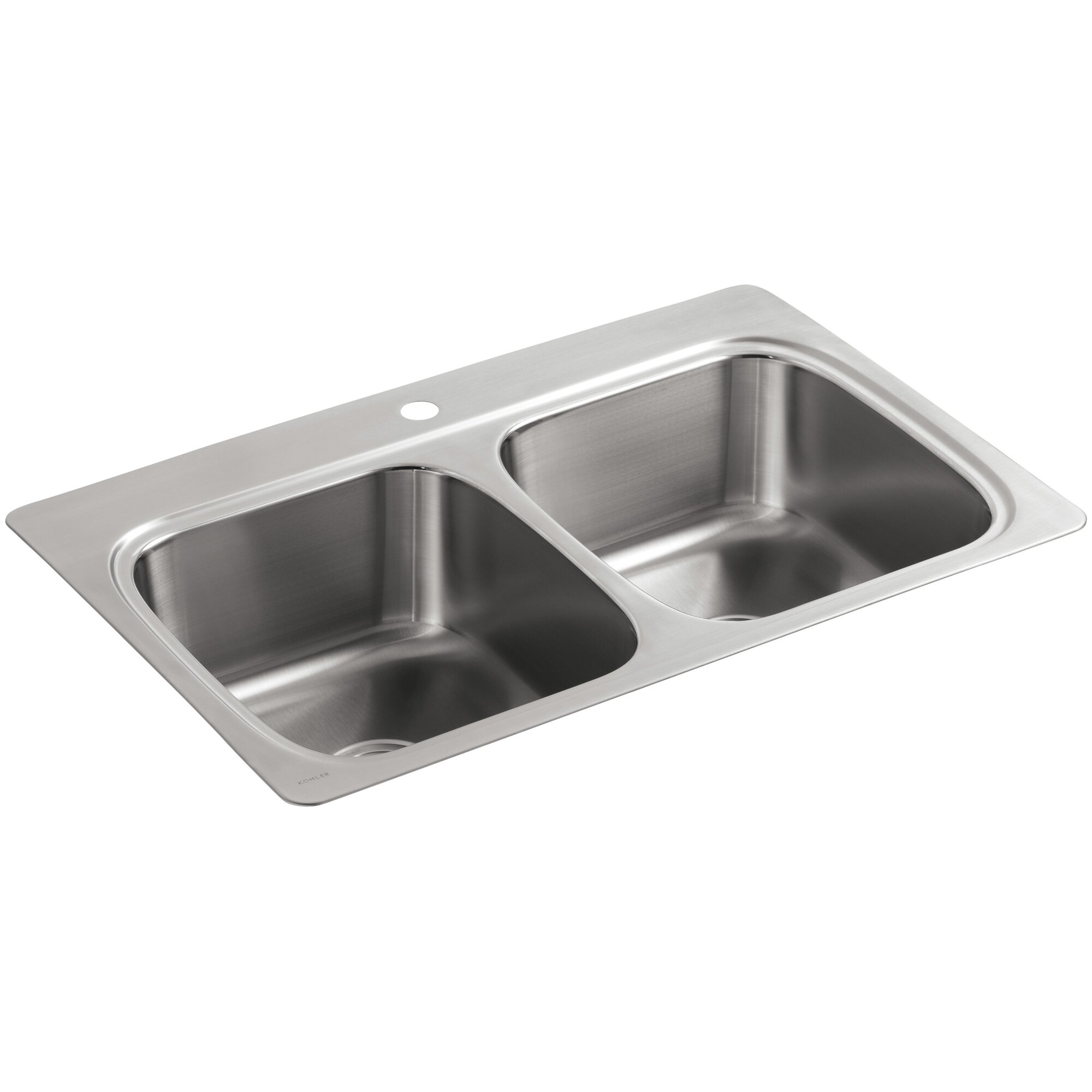 verse top mount double equal bowl kitchen sink with single faucet hole - Single Or Double Kitchen Sink
