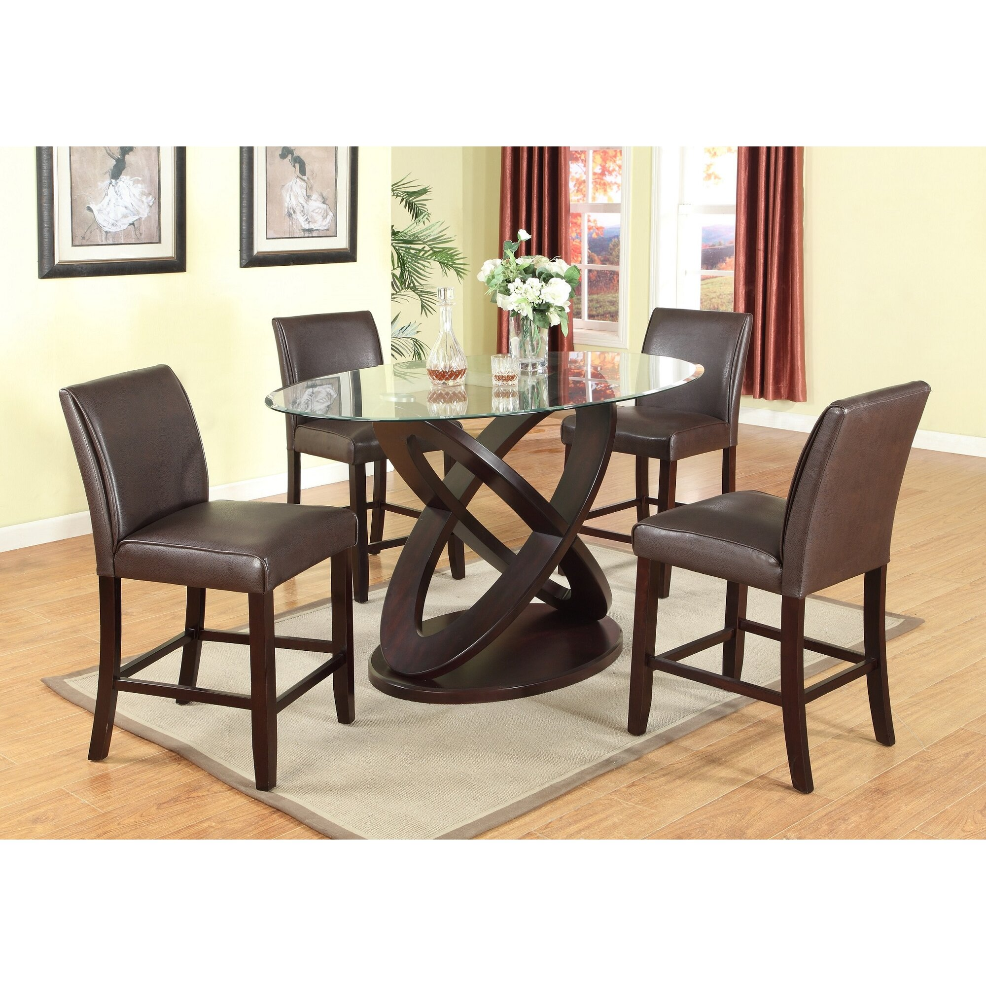 Roundhill Furniture Cicicol 5 Piece Counter Height Dining Set ...