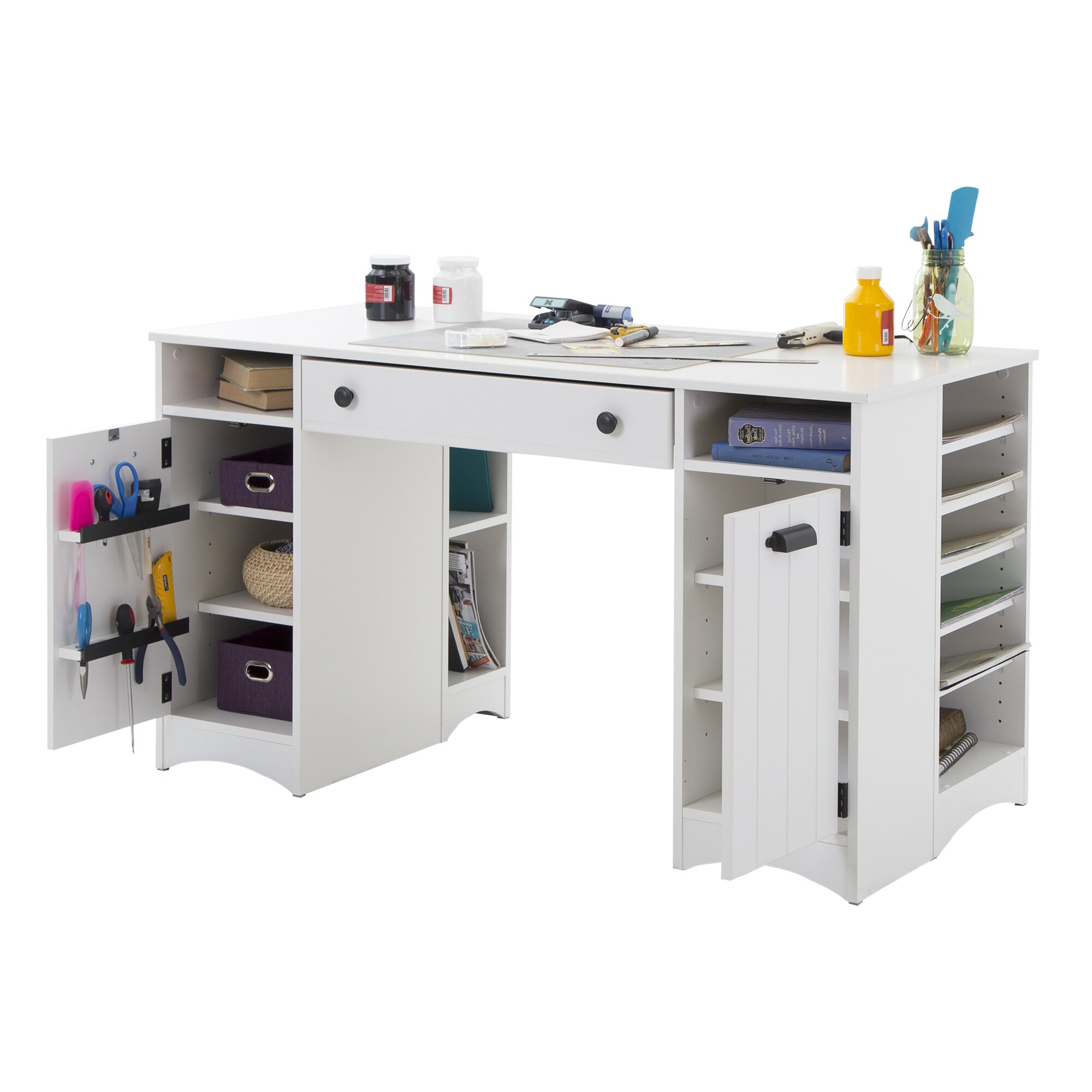 South shore artwork craft writing desk with storage for Craft desk with storage
