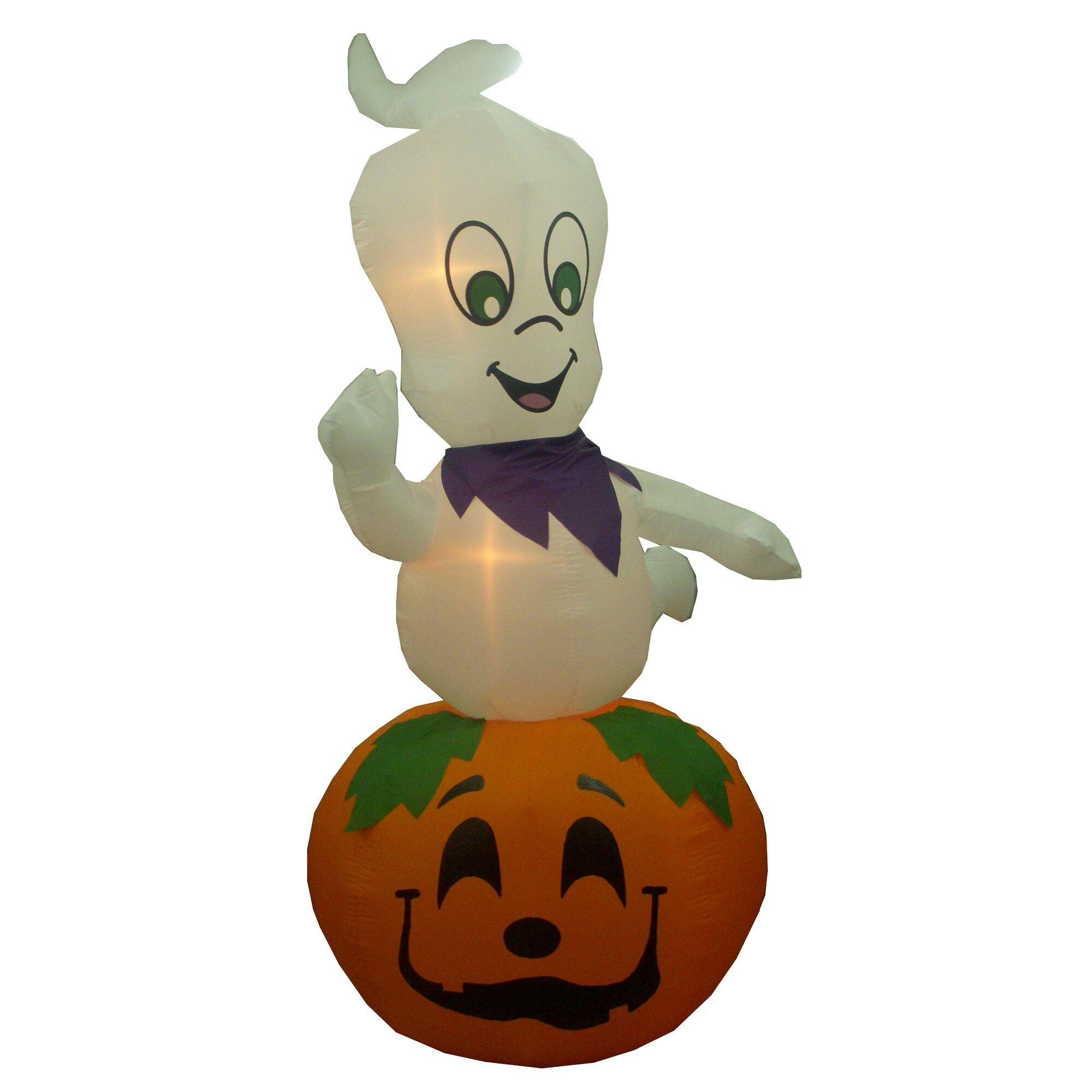 Outdoor inflatable halloween decorations - Animated Halloween Inflatable Ghost Casper On Pumpkin Indoor Outdoor Decoration