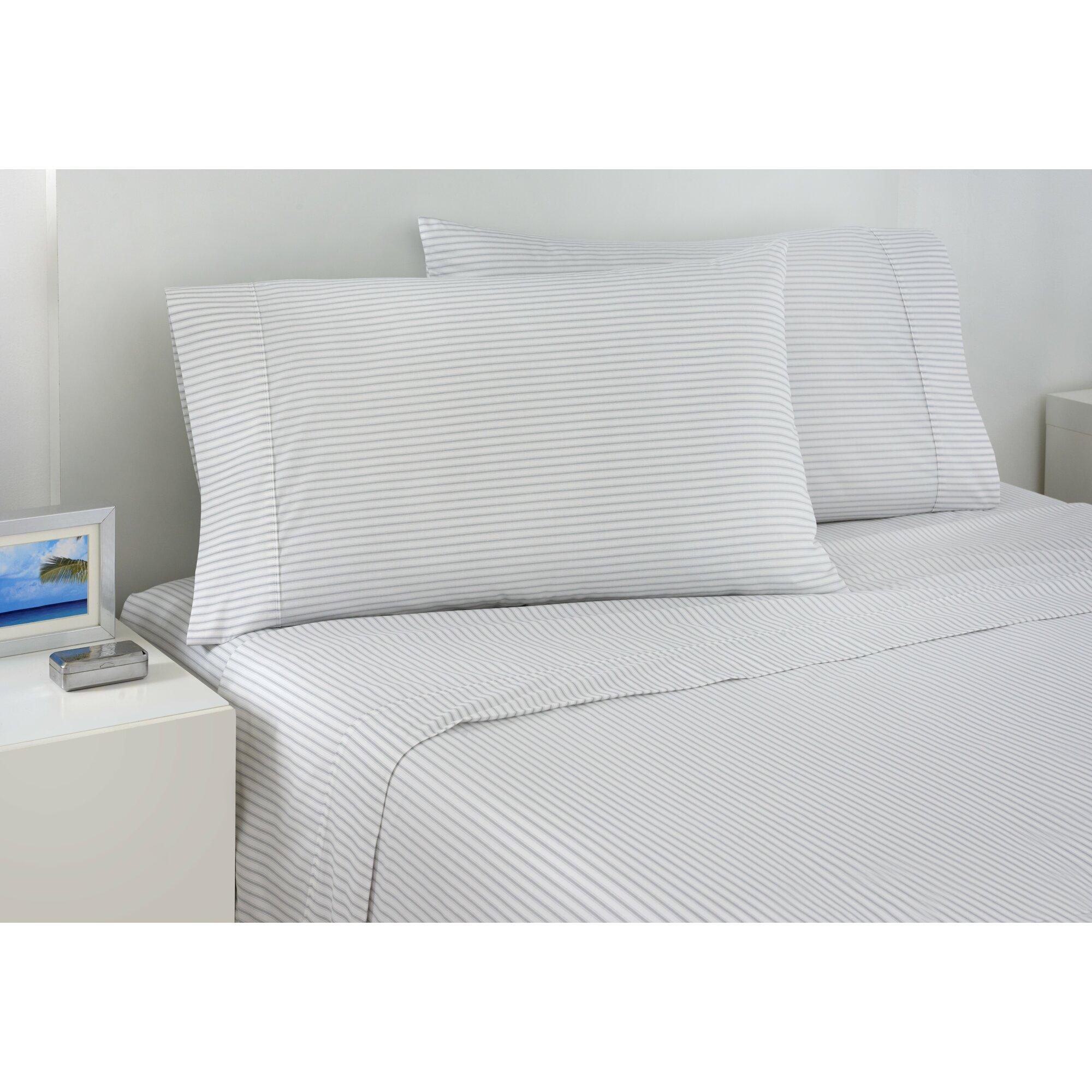 izod 200 thread count ticking stripe sheet set reviews wayfair. Black Bedroom Furniture Sets. Home Design Ideas