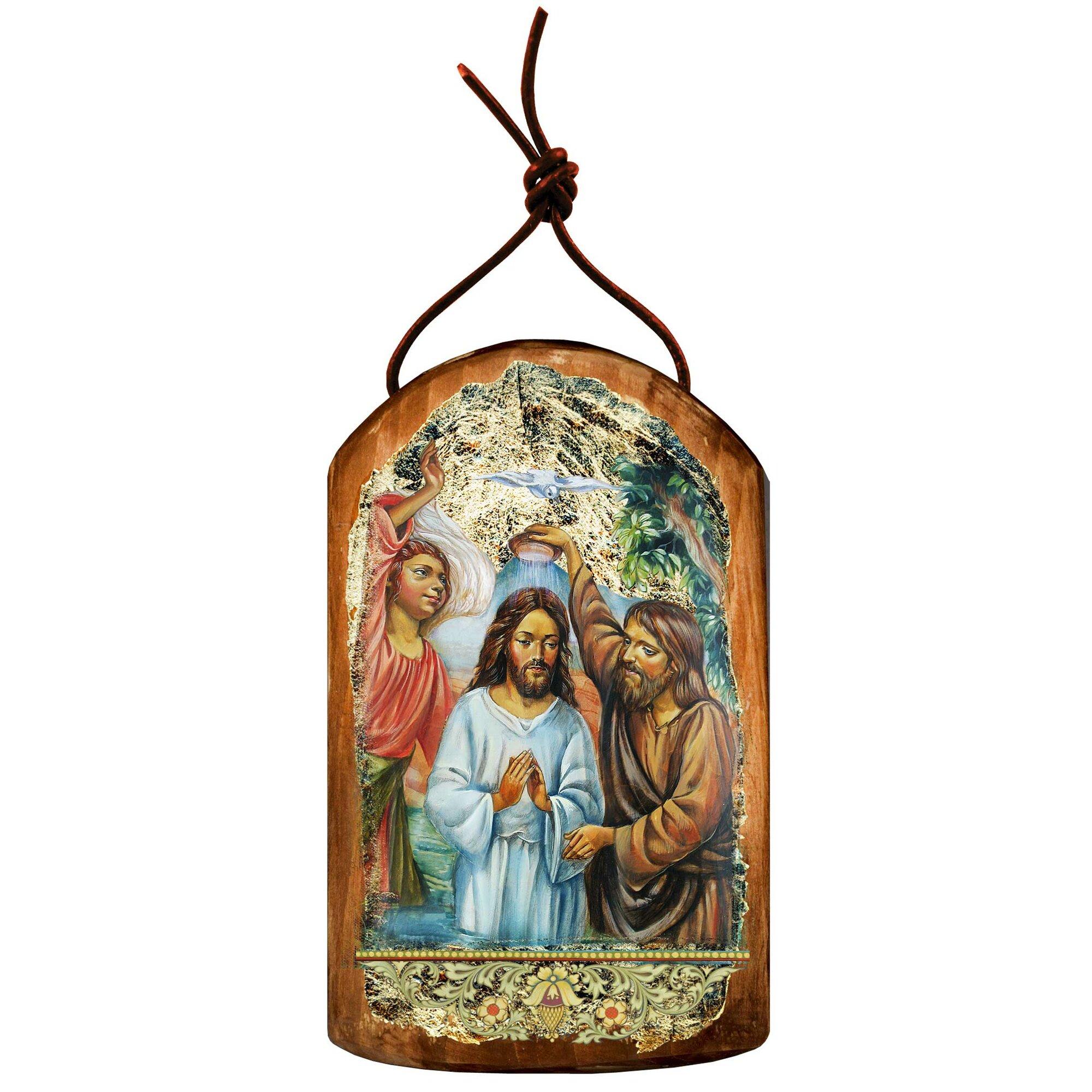 Baptism Ornaments Christening Christmas Ornaments: G Debrekht Inspirational Icon Christening Wooden Ornament