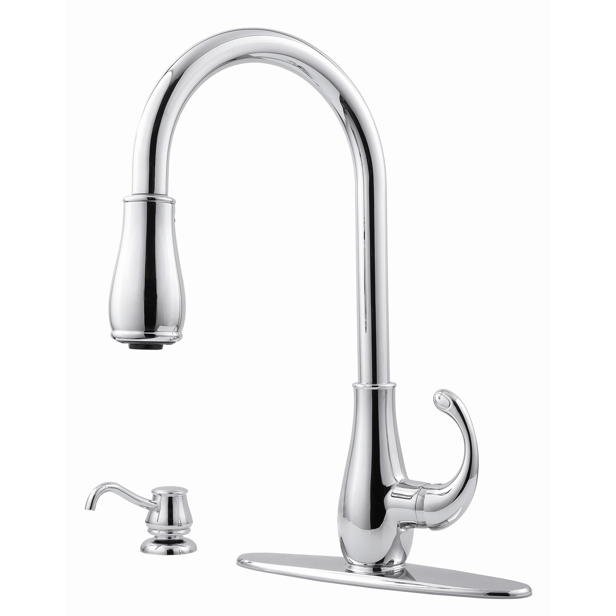 Treviso Single Handle Deck Mounted Kitchen Faucet With Soap Dispenser