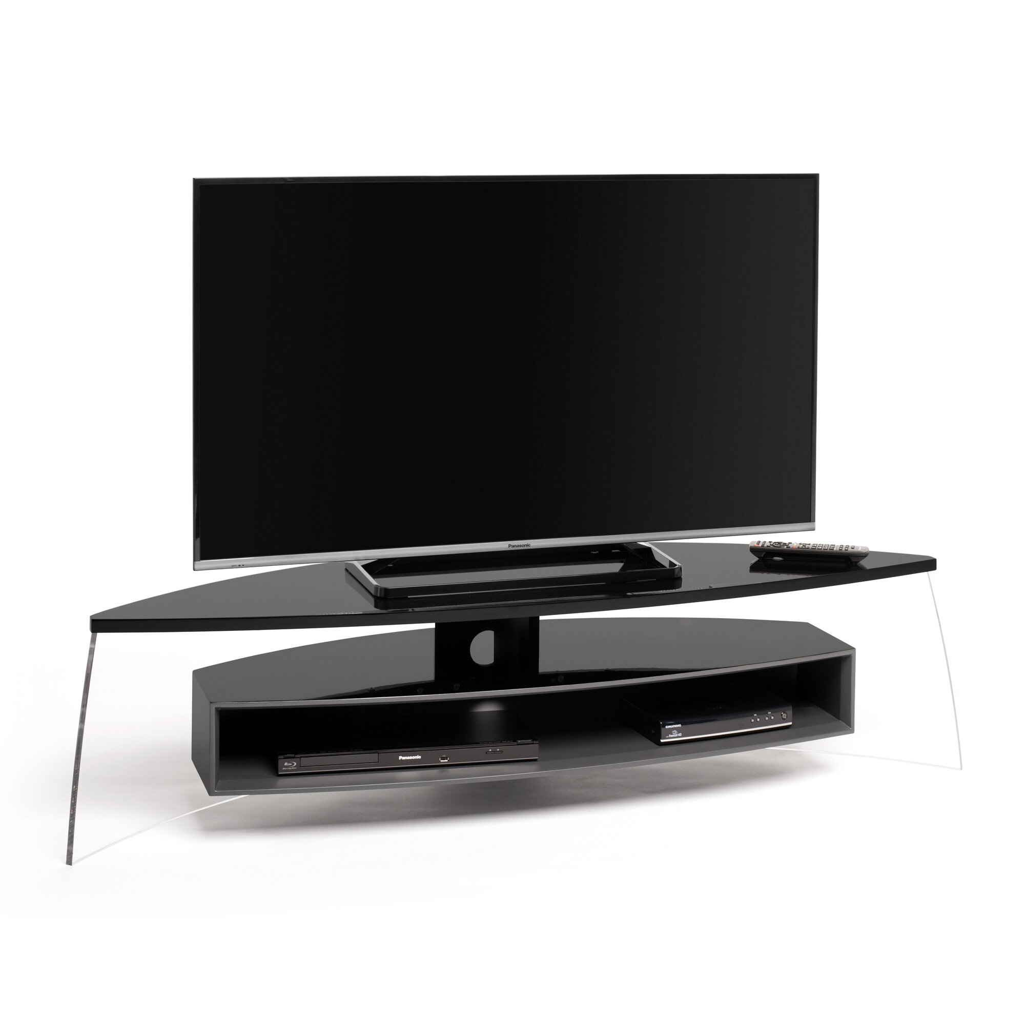 techlink tv regal air curve f r fernseher bis 70. Black Bedroom Furniture Sets. Home Design Ideas
