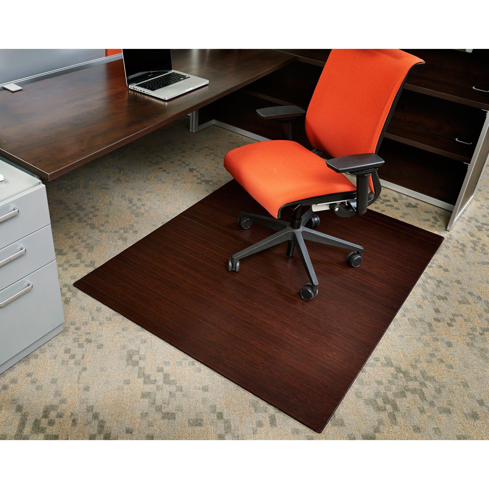 Chair Mat For Hardwood Floor polypropylene black chair mat for hardwood floors Bamboo Rectangular Office Chair Mat