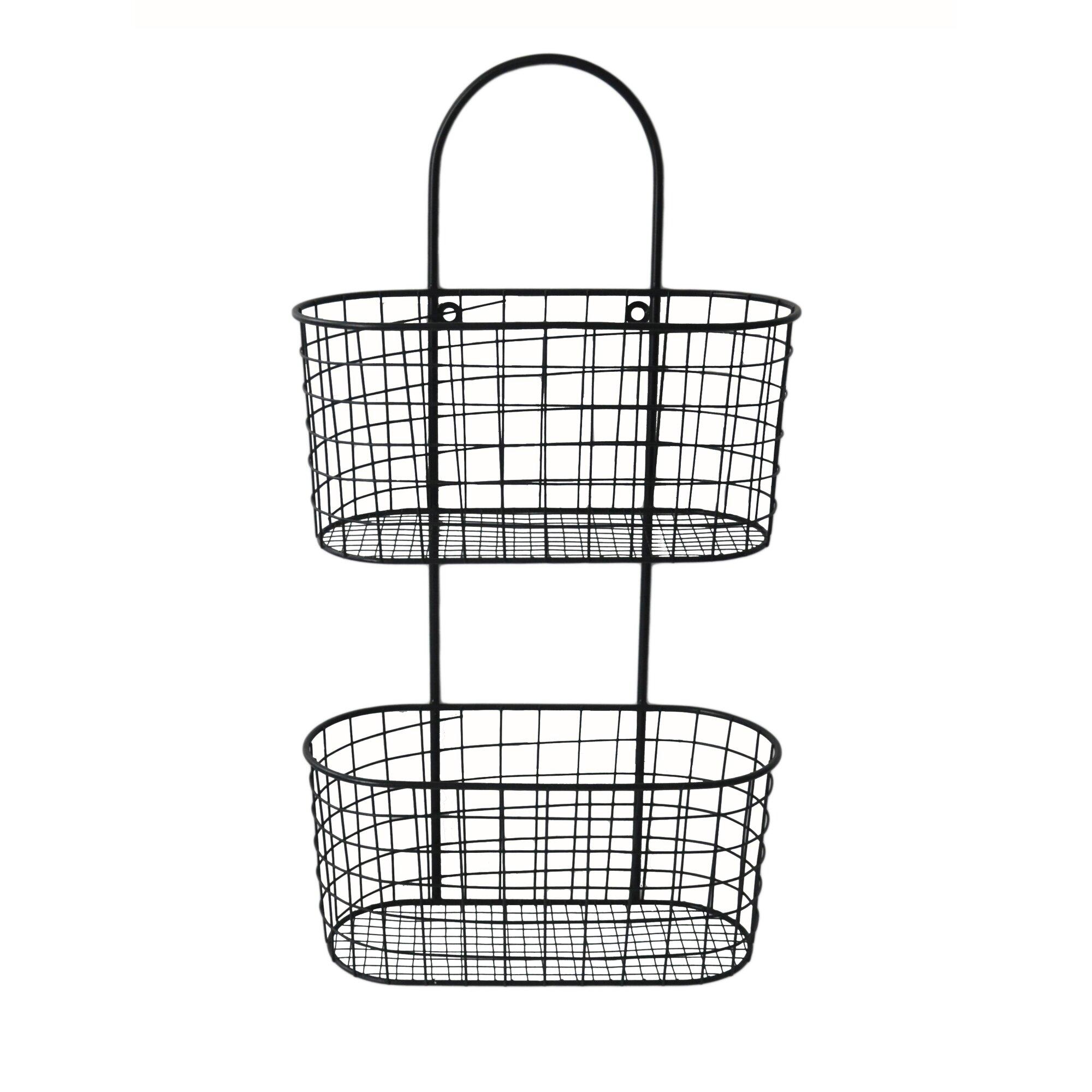 cheungs metal wall hanging storage basket reviews wayfair. Black Bedroom Furniture Sets. Home Design Ideas