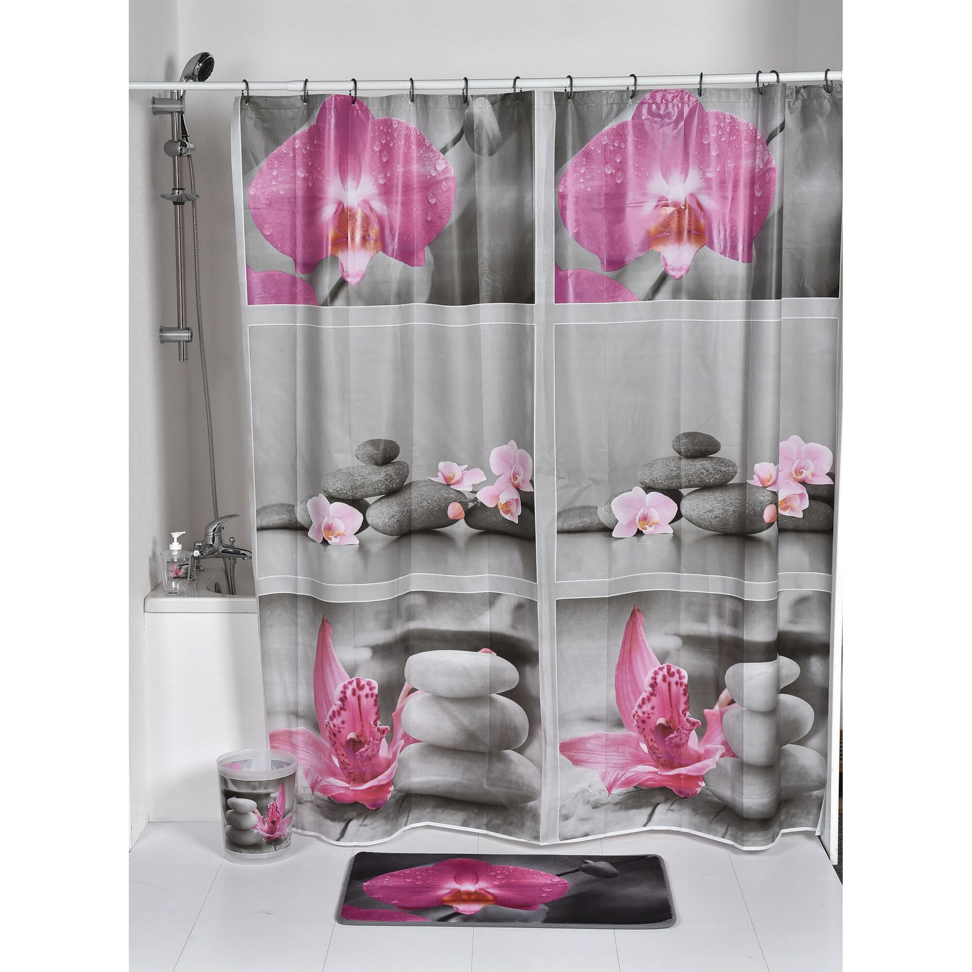 evideco chic and zen printed shower curtain reviews wayfair