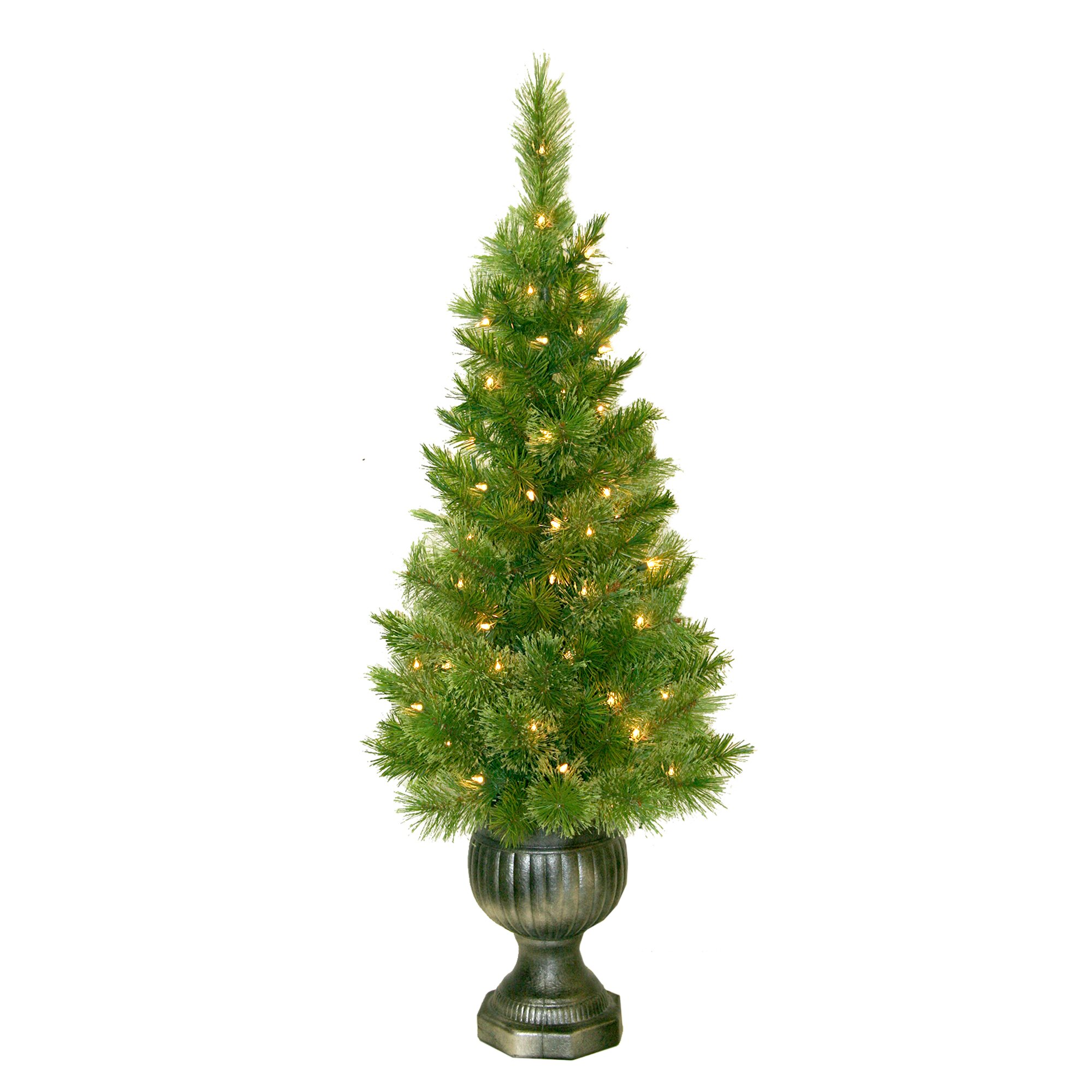 Slim white christmas tree with lights - 4 Potted Sheridan Pine Entryway Christmas Tree With 50 Clear Lights