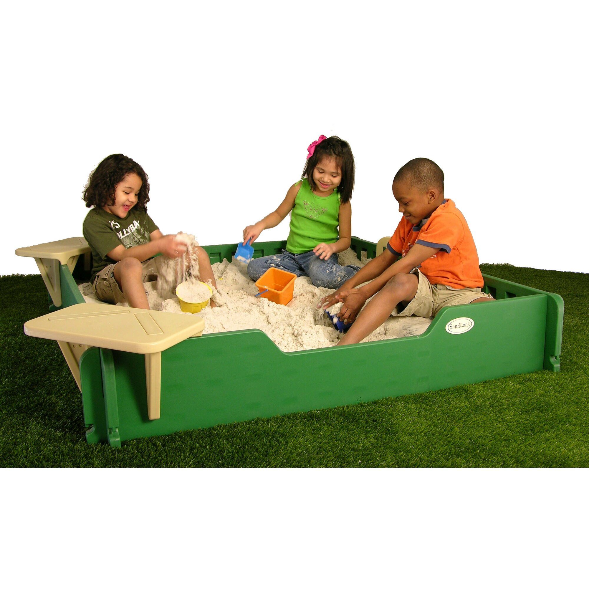 Sandlock Square Sandbox With Cover & Reviews