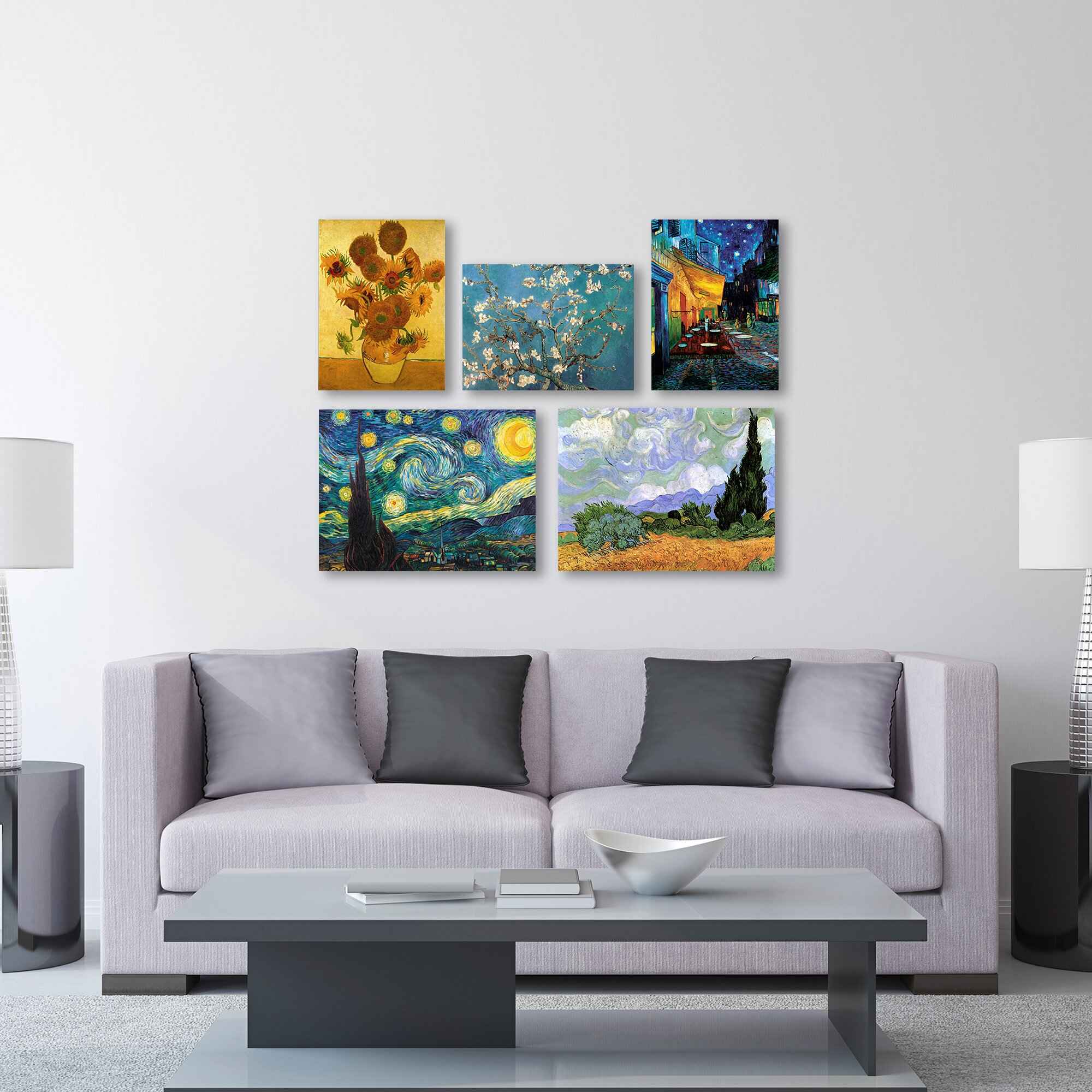Trademark Art 5 Piece Graphic Art by Vincent Van Gogh Painting Print on Wrapp