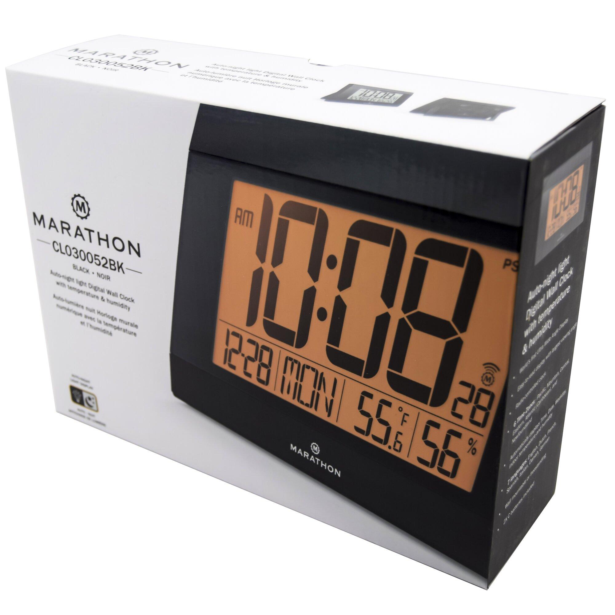 Marathon Watch Company Atomic Digital Wall Clock With Auto