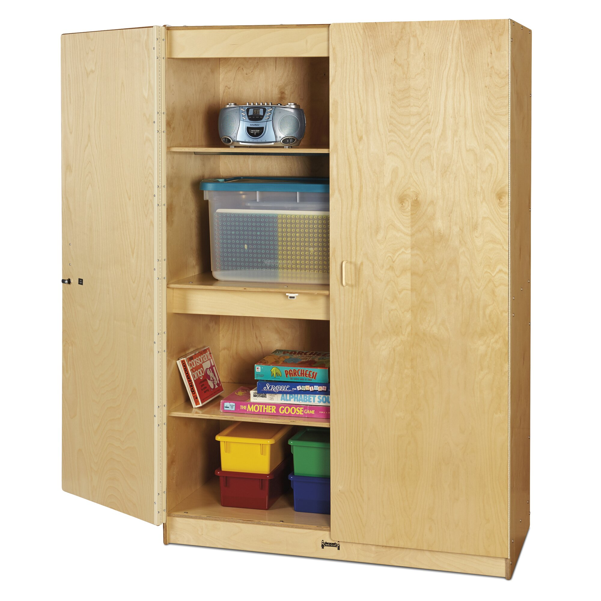 Jonti-Craft Wide 4 Compartment Classroom Cabinet With