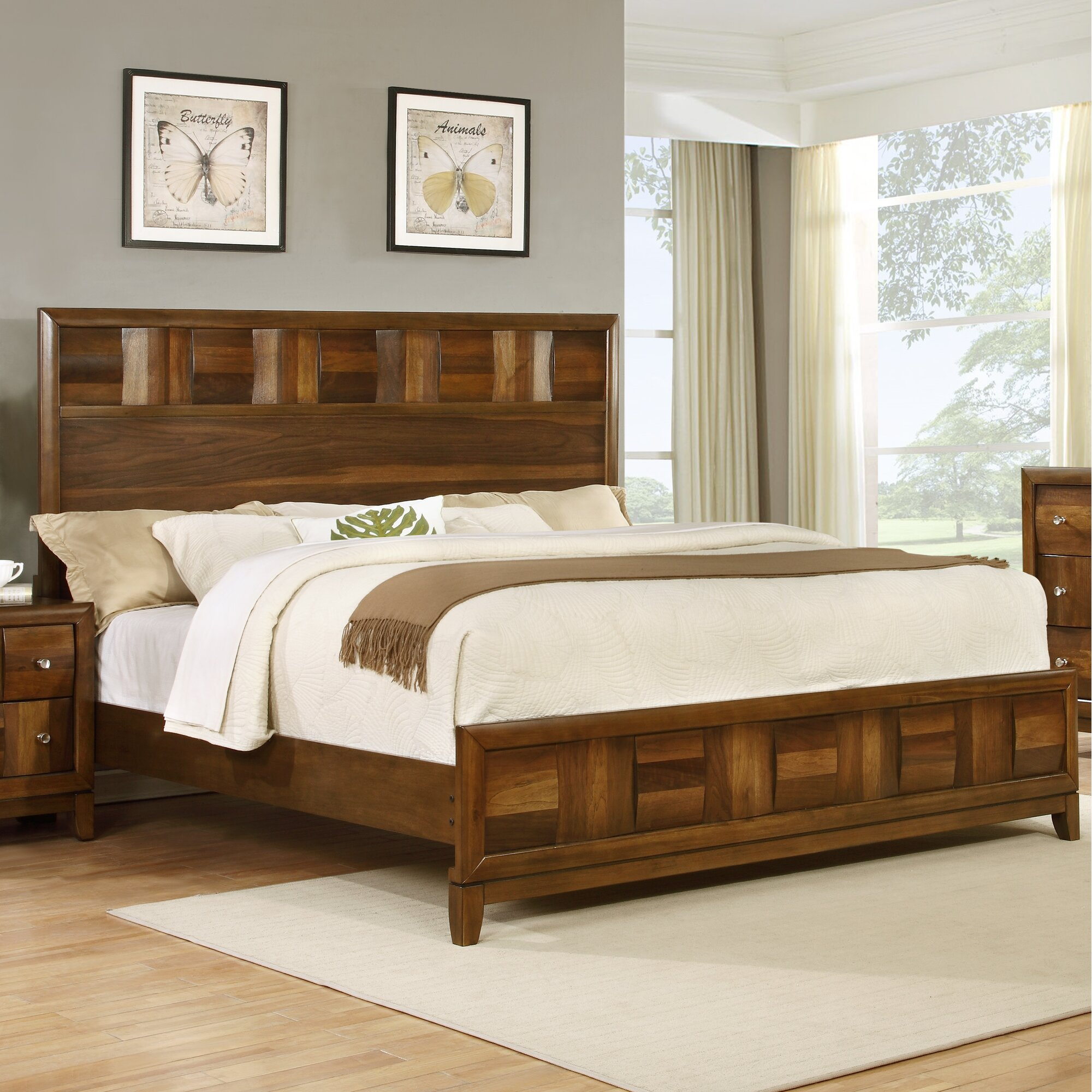 Roundhill furniture calais panel 5 piece bedroom set for Front room furniture sets