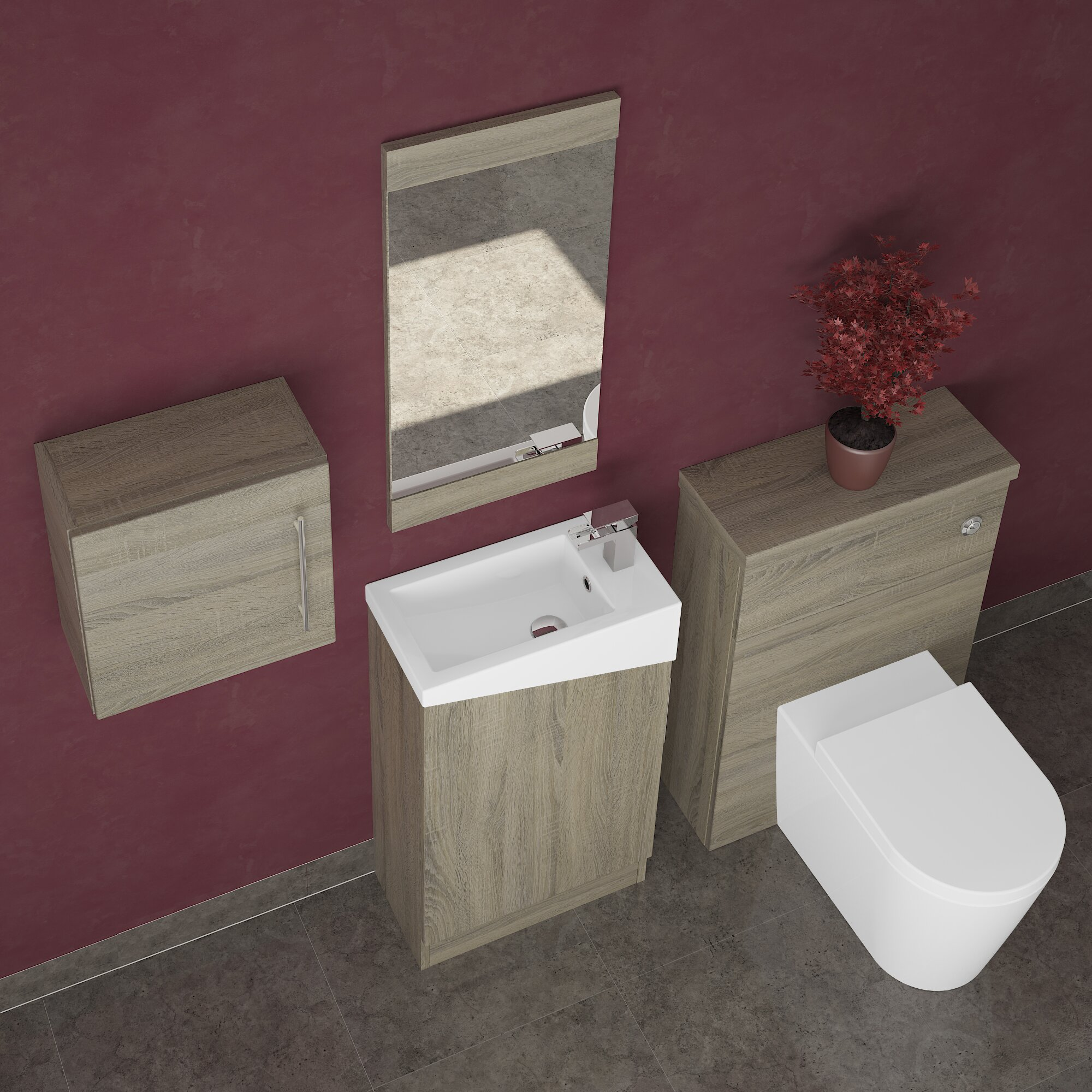 bemodern bathrooms 50 cm waschtisch dakota mit spiegel und. Black Bedroom Furniture Sets. Home Design Ideas