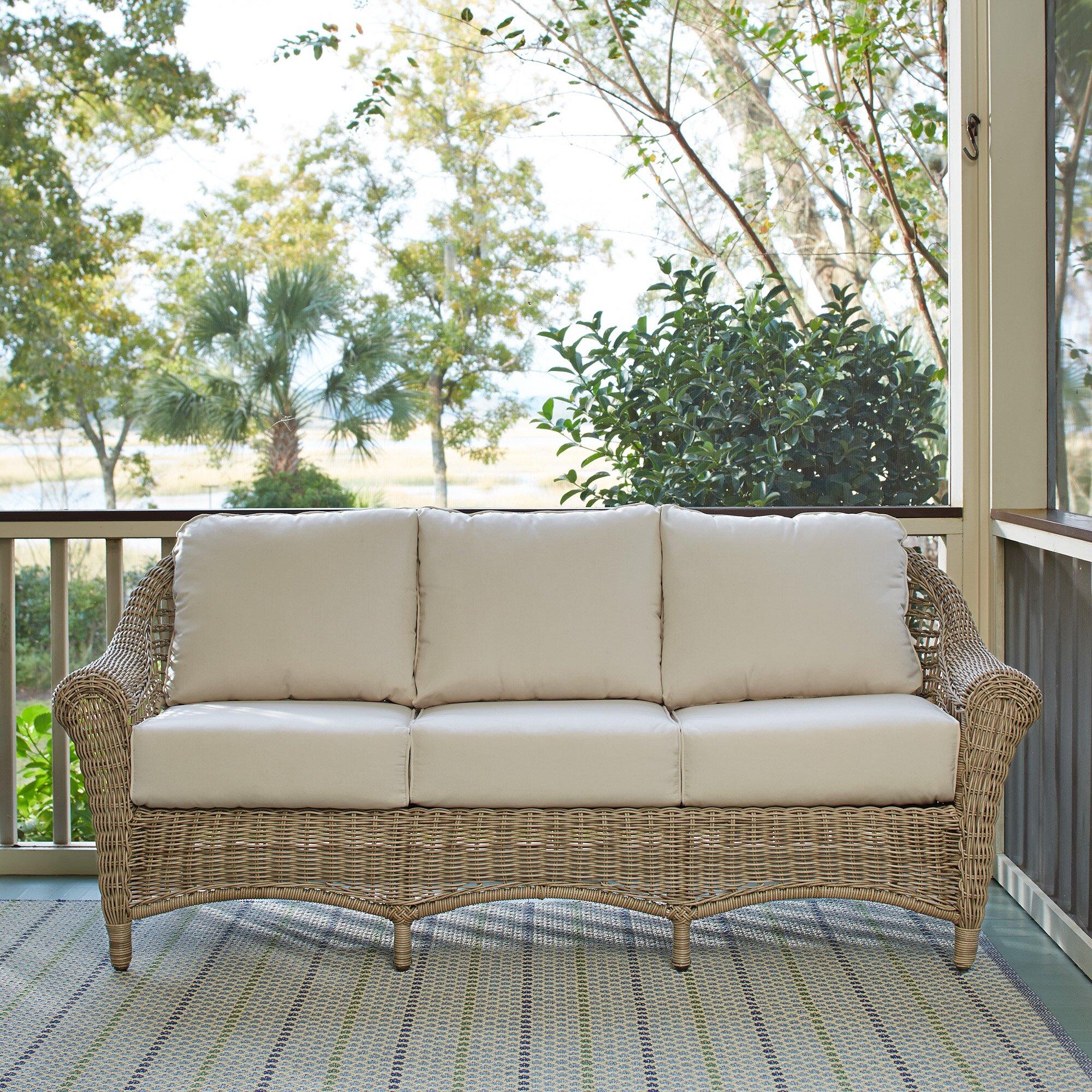 Birch Lane Lynwood Wicker Sofa With Sunbrella 174 Cushions