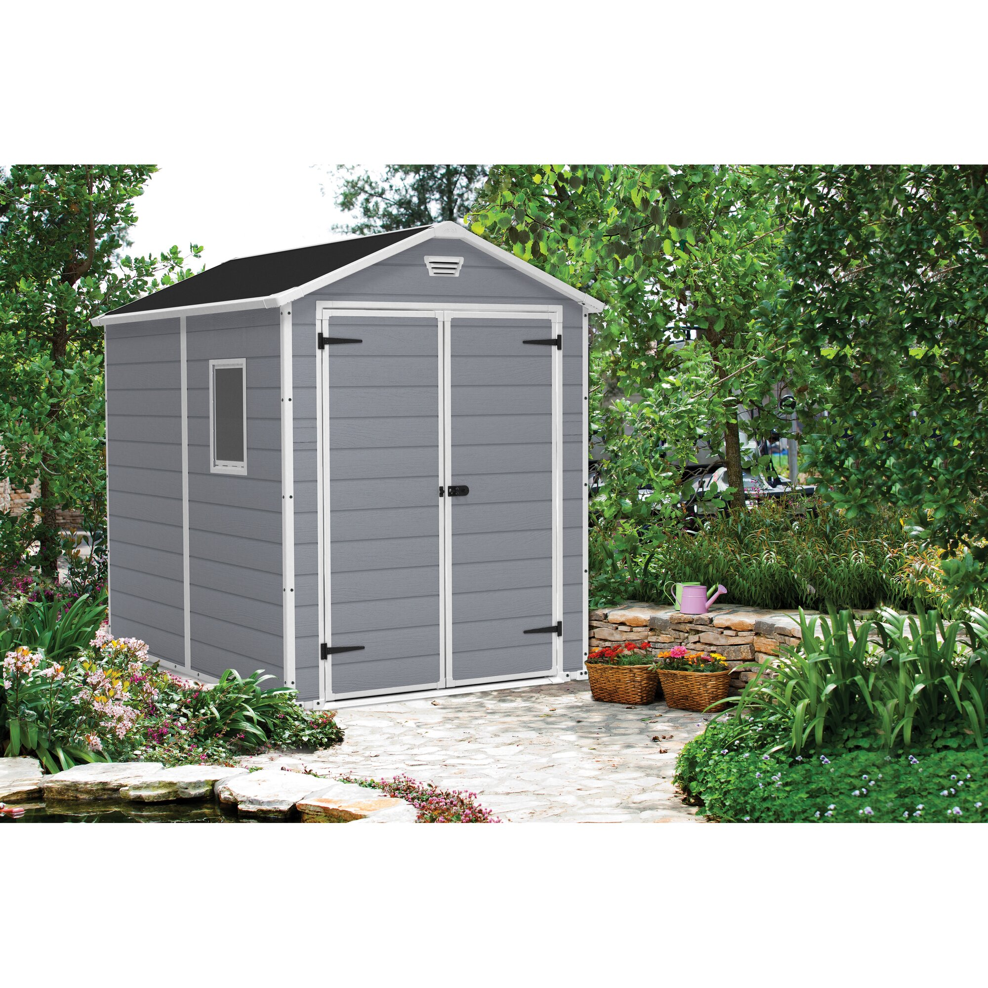 Keter manor 6 ft w x 7 4 ft d plastic storage shed for Abri de jardin pvc toit plat