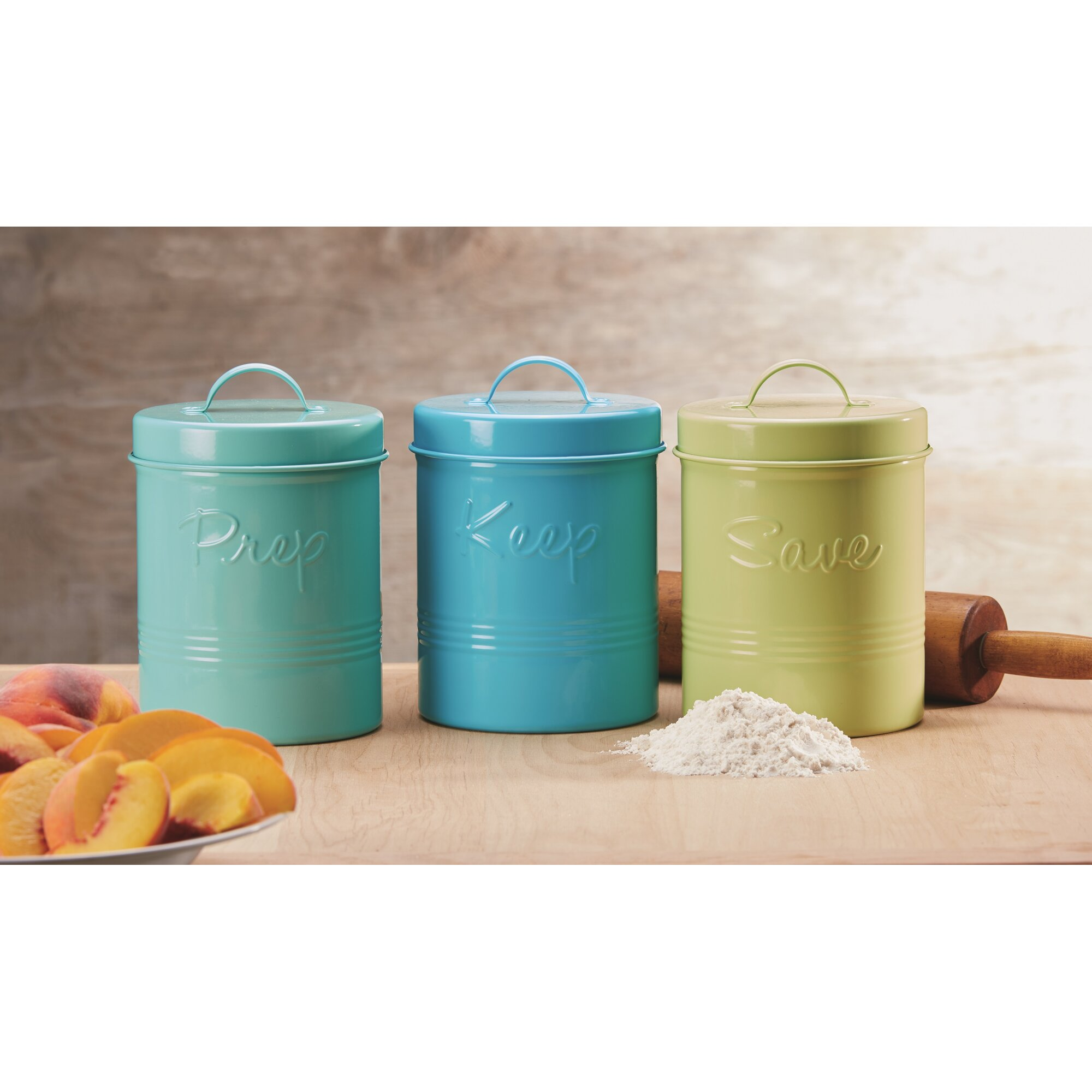 global amici retro fifties metal 3 piece kitchen canister