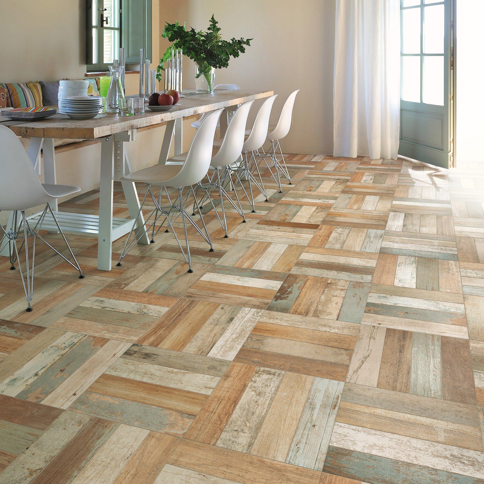 """Faux Wood Flooring Reviews: EliteTile Royalty 17.75"""" X 17.75"""" Ceramic Wood Look Tile"""