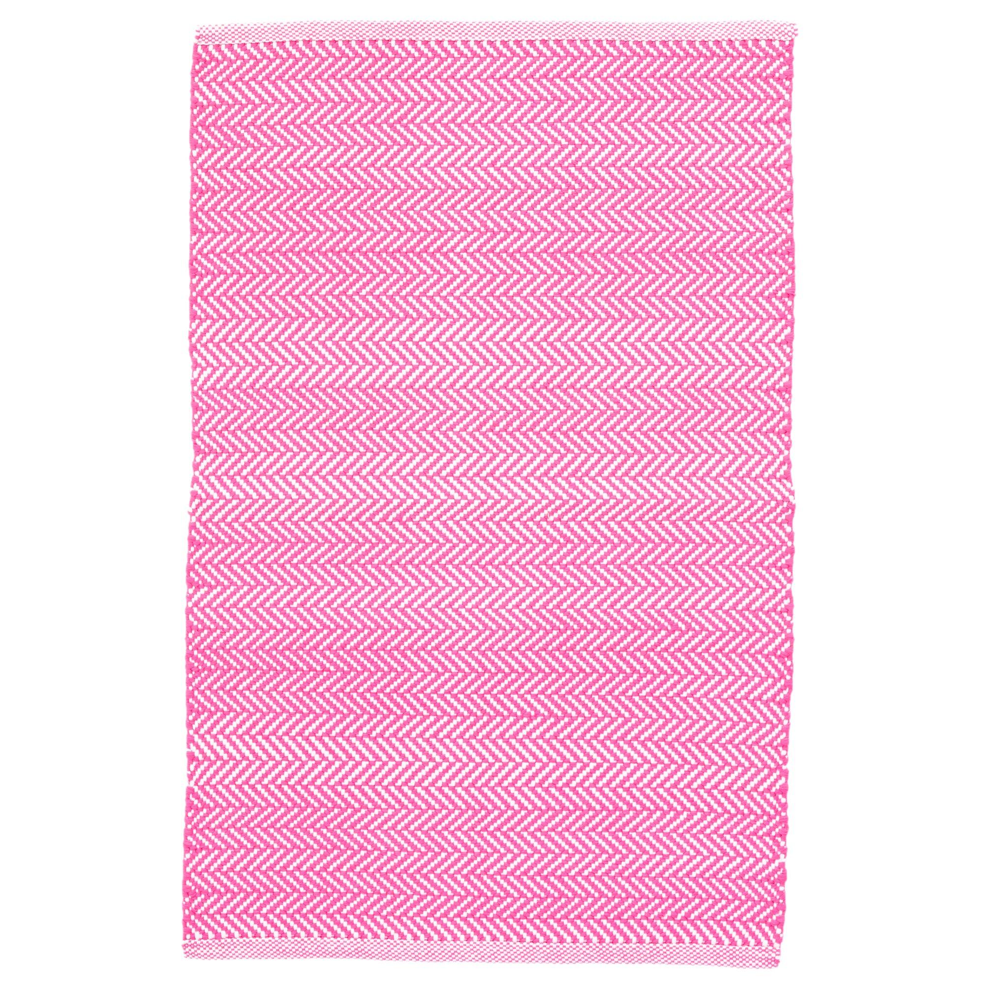 Dash And Albert Rugs C3 Herringbone Pink Indoor/Outdoor
