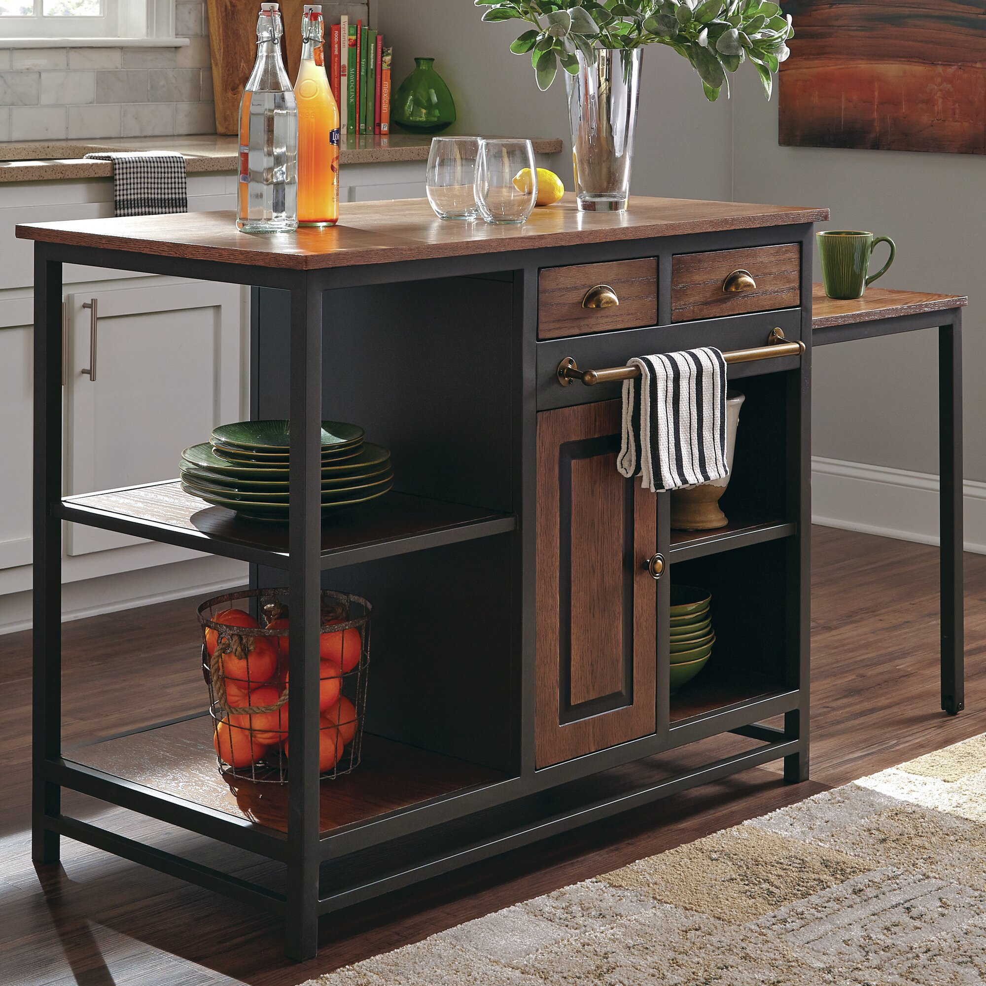 Kitchen island with wood top reviews allmodern for All wood kitchen island