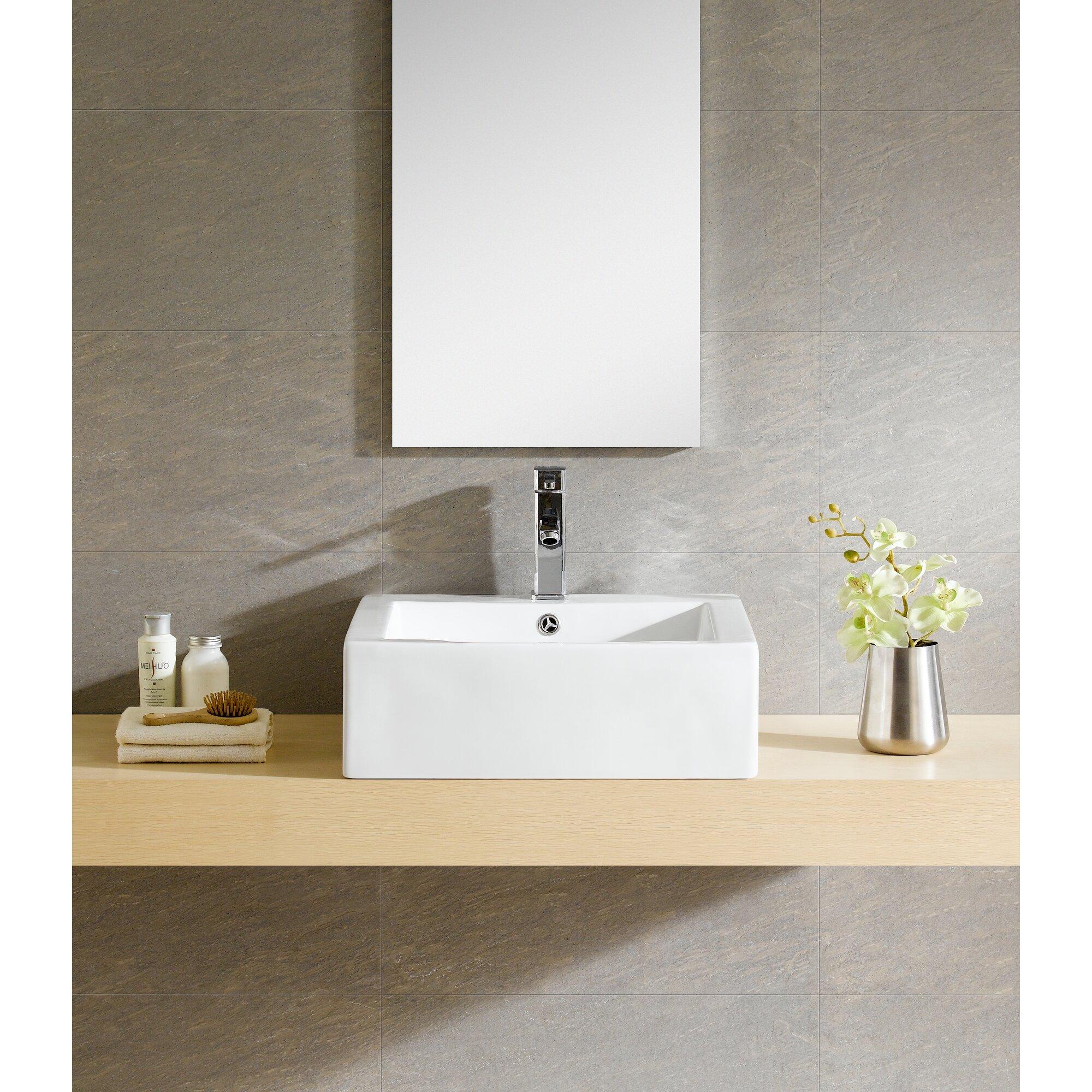 Bathroom square vessel sinks - Modern Vitreous Square Vessel Bathroom Sink
