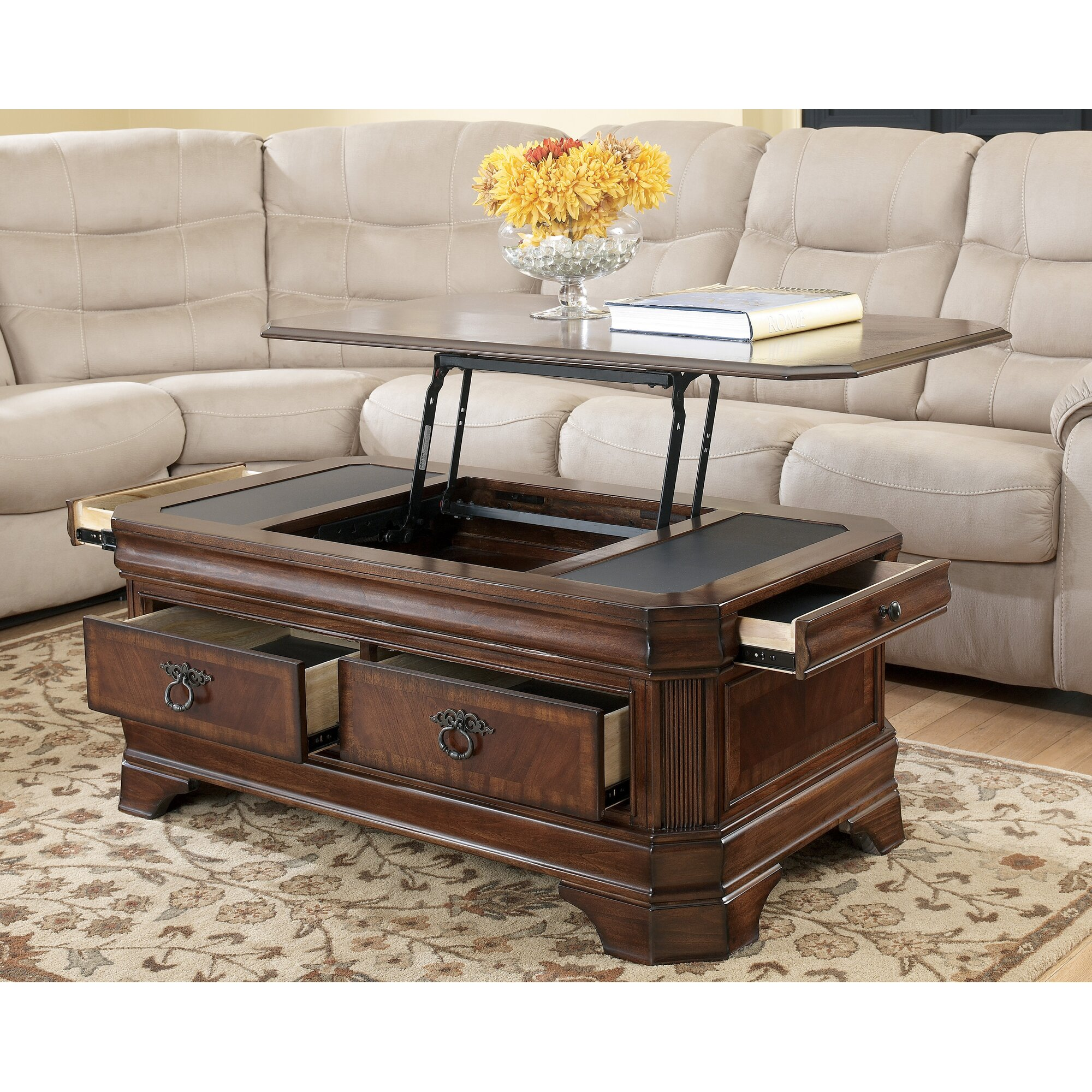 darby home co busse trunk coffee table with lift top reviews. Black Bedroom Furniture Sets. Home Design Ideas