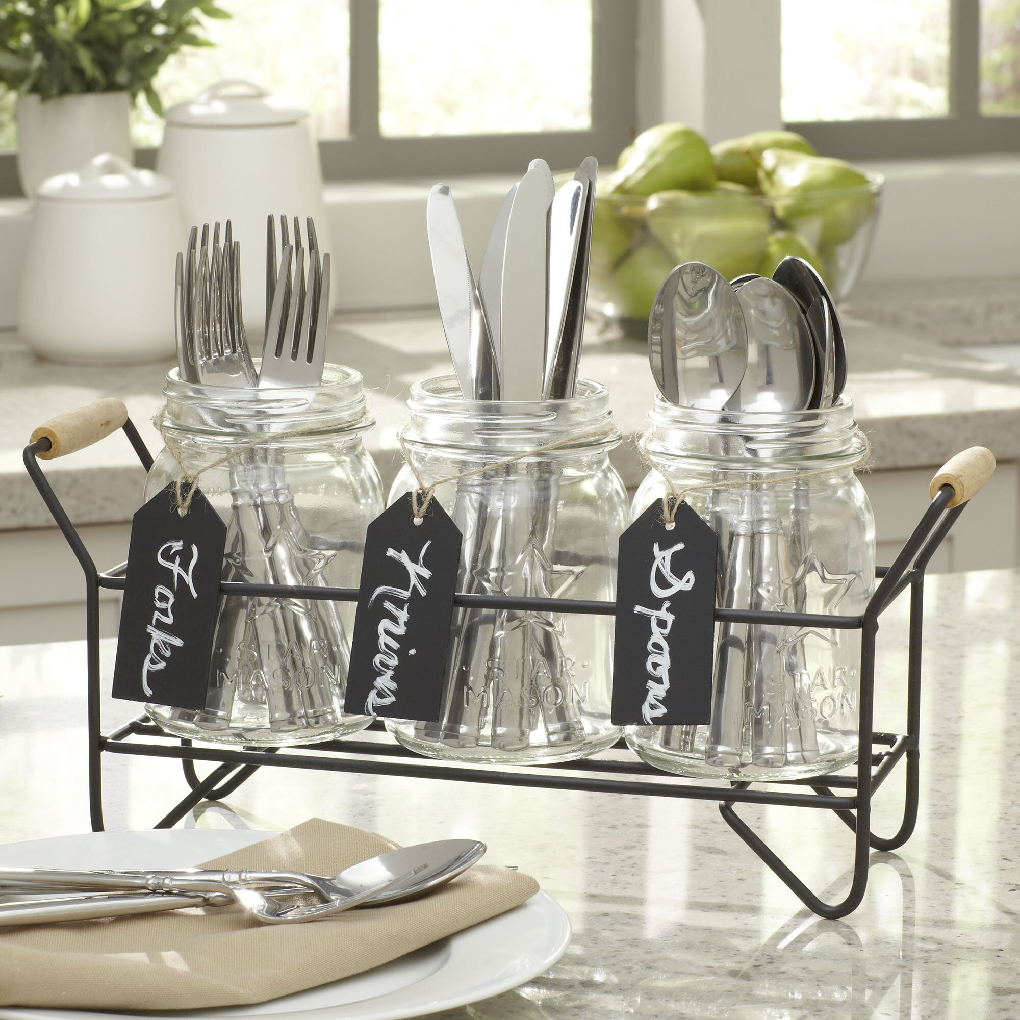Home Essentials And Beyond 4 Pieces Star Mason Jar Set