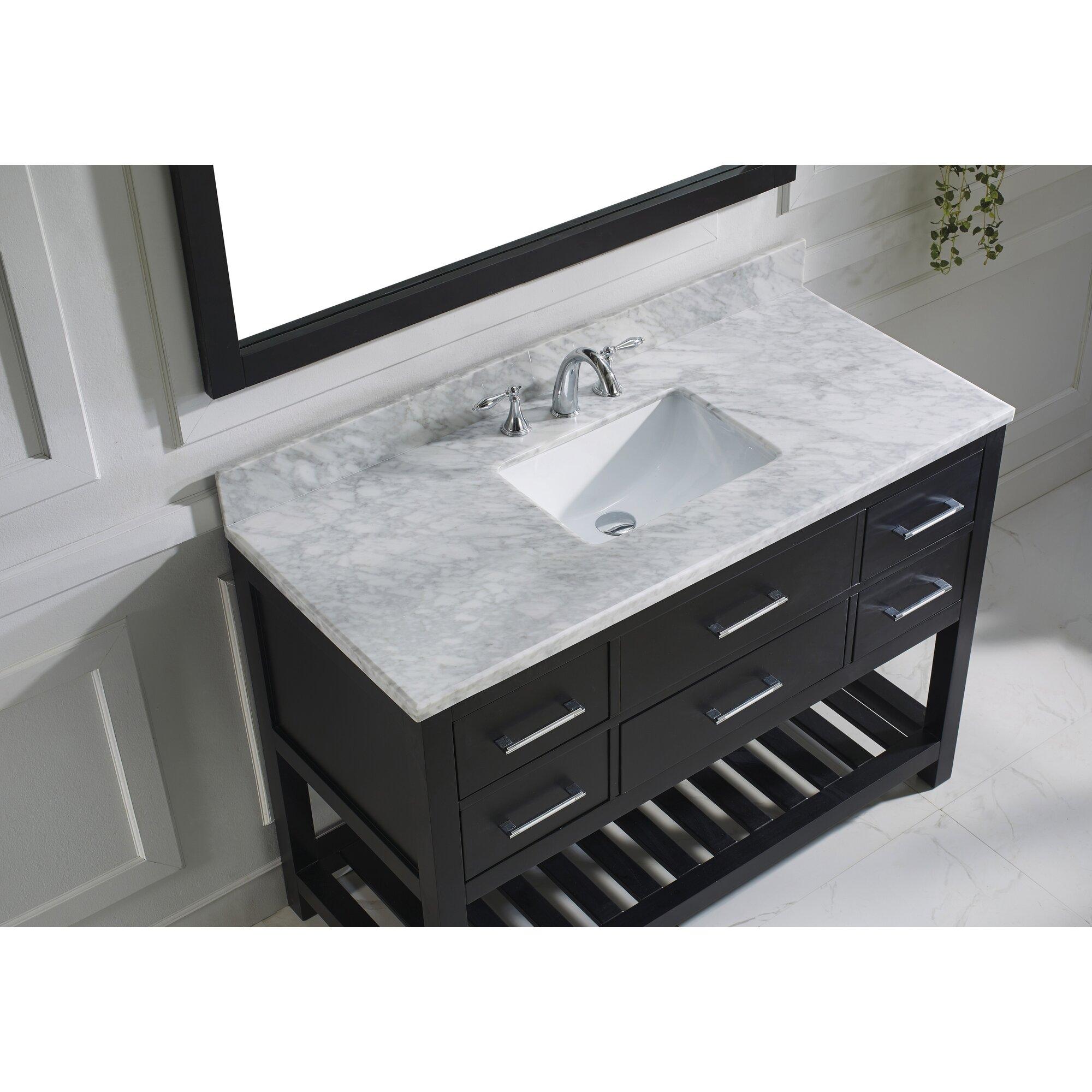 Virtu bathroom accessories - Caroline Estate 49 Single Bathroom Vanity Set With White Marble Top And Mirror