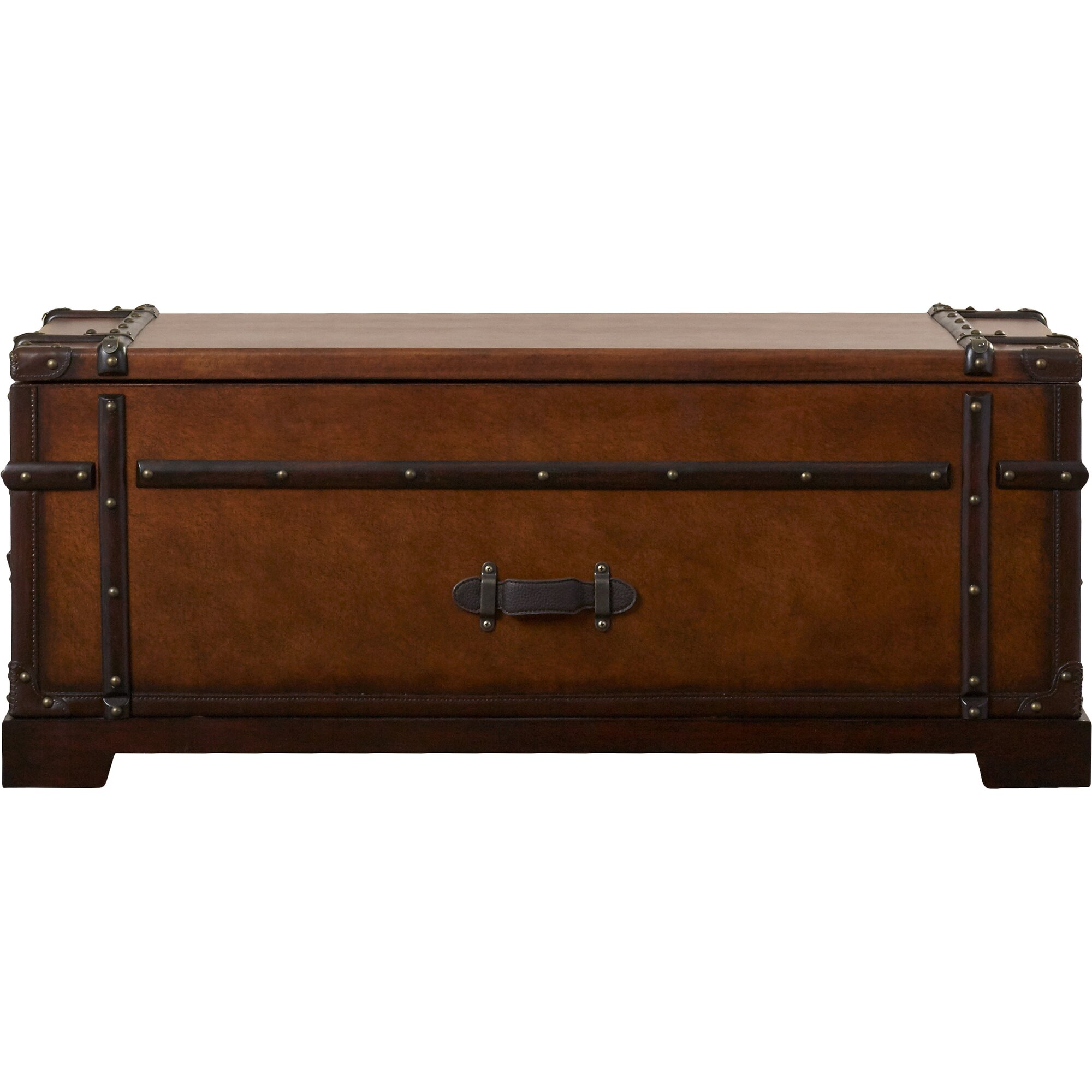 Darby home co delavan coffee table trunk with lift top for Glass trunk coffee table