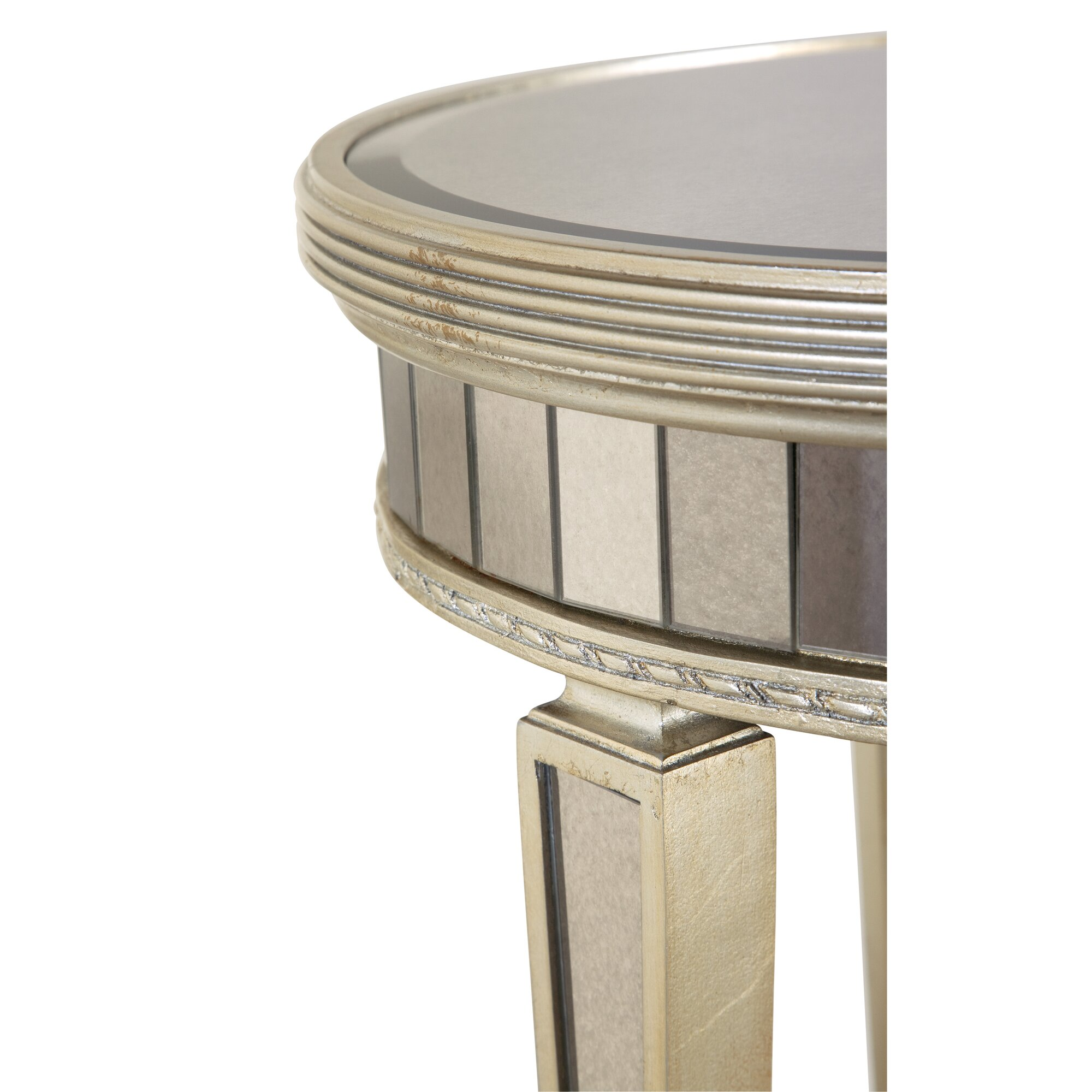 House Of Hampton Sandbach Mirrored Round End Table In