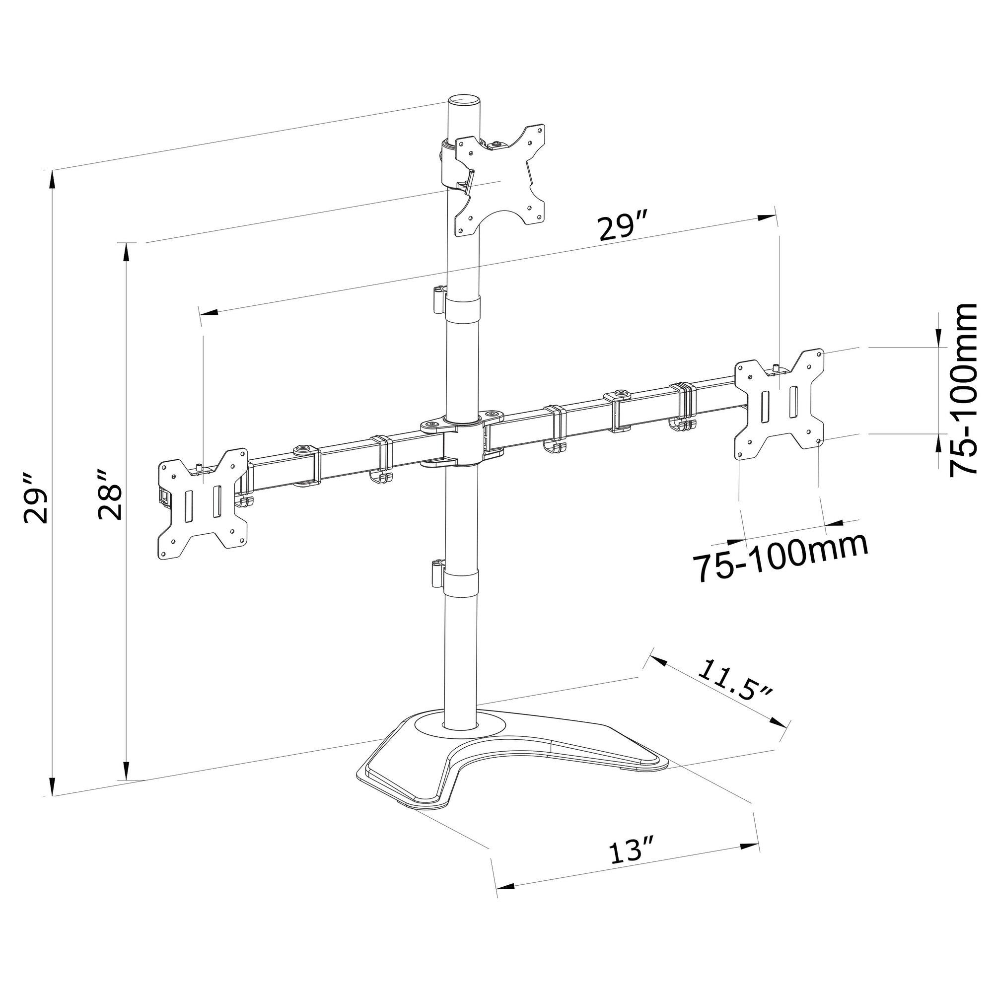 Vivo Triple Lcd Monitor Free Standing Height Adjustable 3