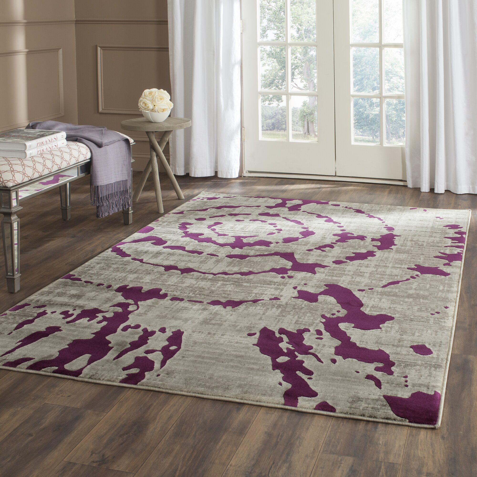 Purple Rug: World Menagerie Varnai Light Gray/Purple Area Rug