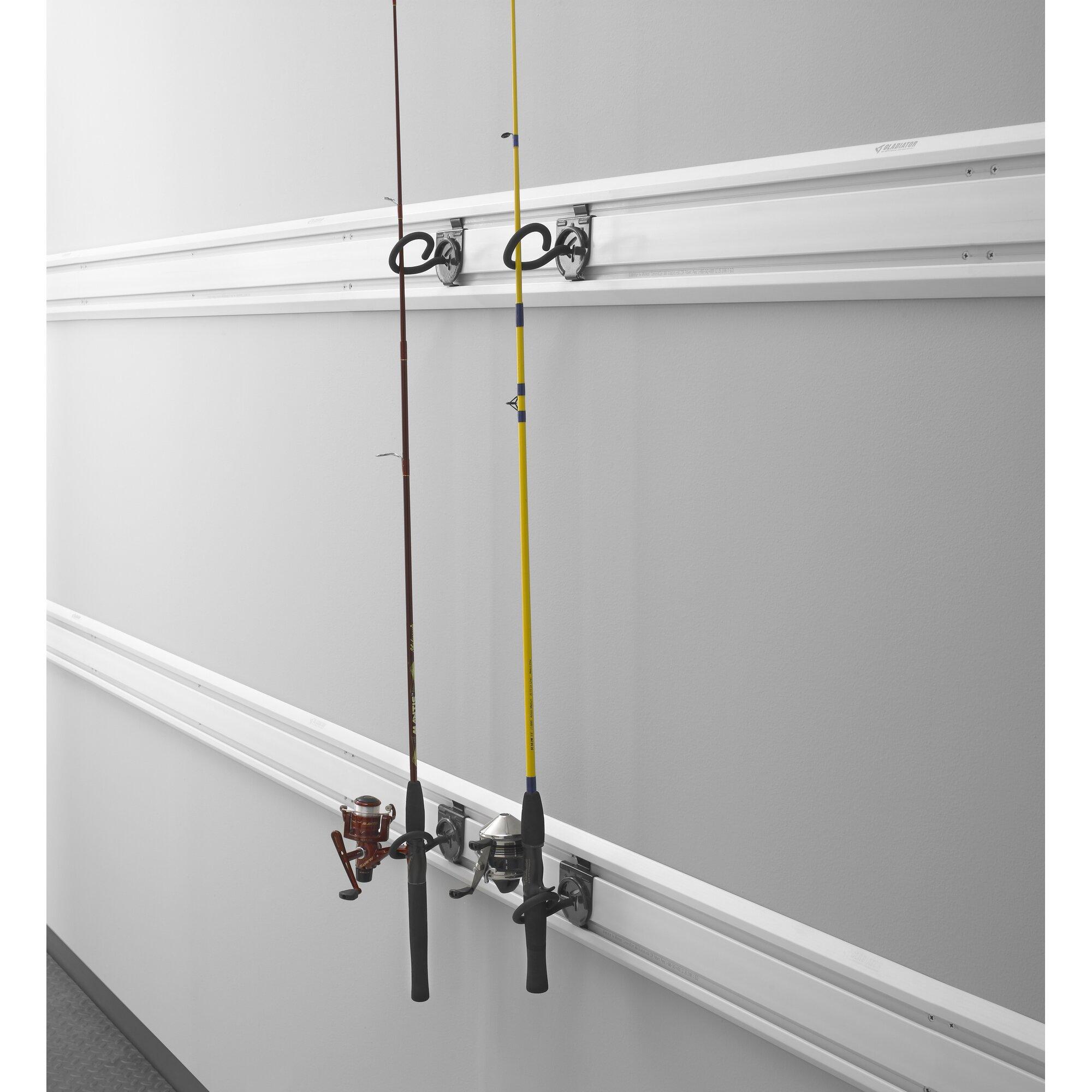 Gladiator fishing pole holder garage hook wall mounted for Wall mount fishing pole holder