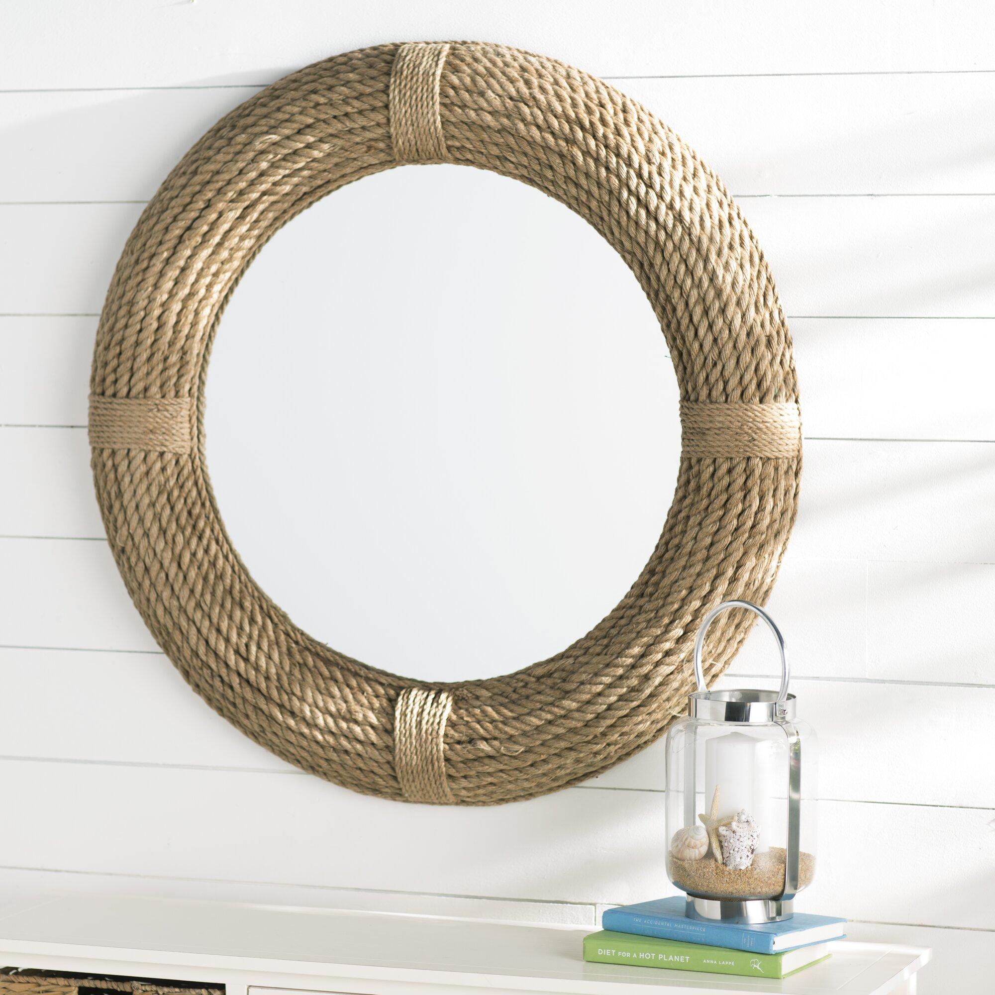 breakwater bay leeward round rope wall mirror reviews wayfair. Black Bedroom Furniture Sets. Home Design Ideas