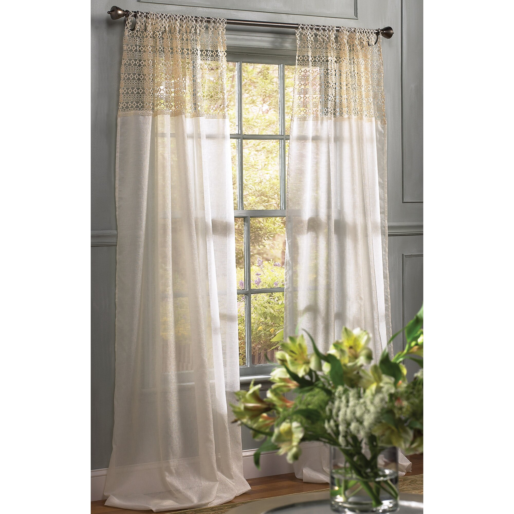 Back tab top curtains - Juliette Crochet Solid Sheer Tab Top Single Curtain Panel