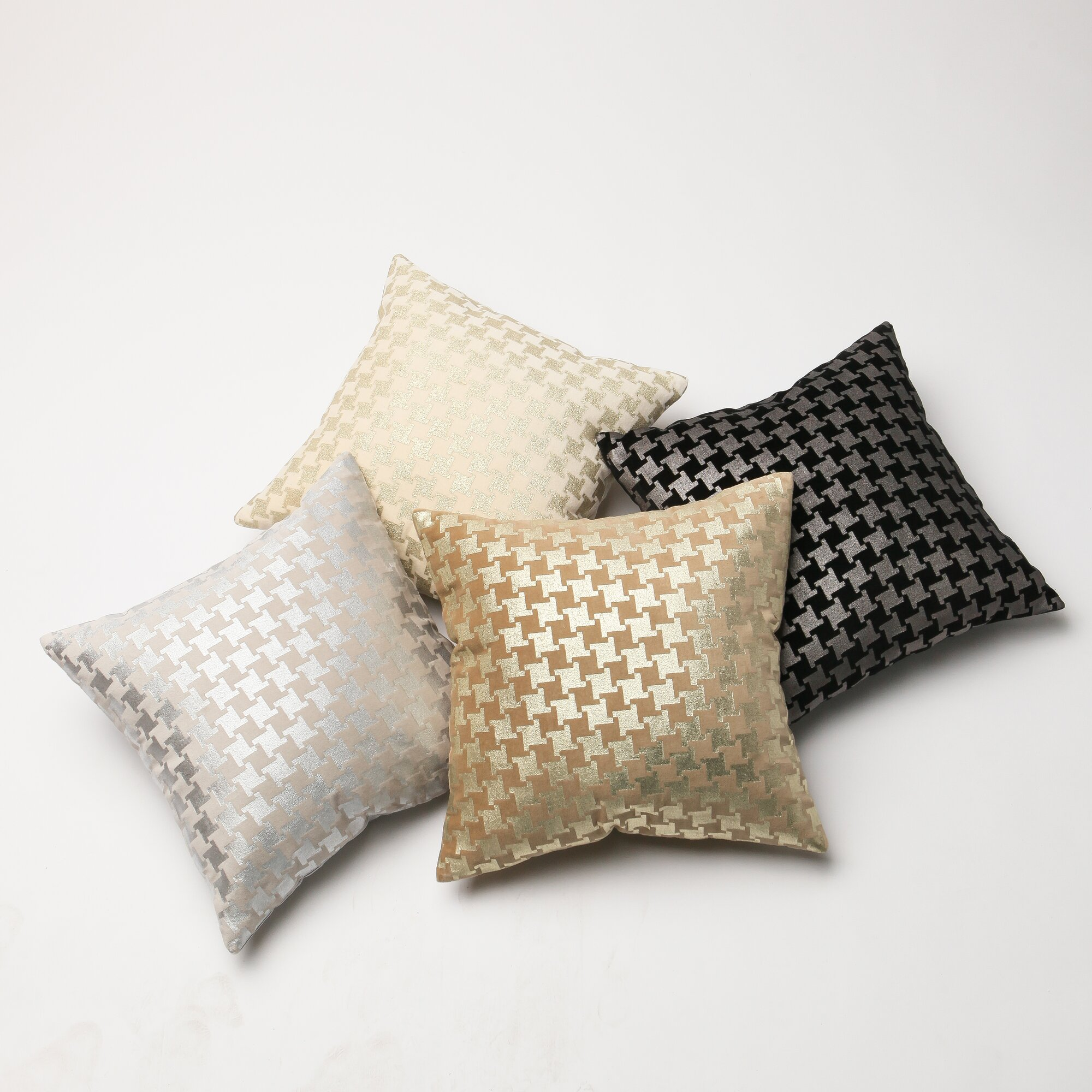 Oversized Decorative Pillow Covers : Best Home Fashion, Inc. Large Houndstooth Metallic Throw Pillow Cover & Reviews Wayfair