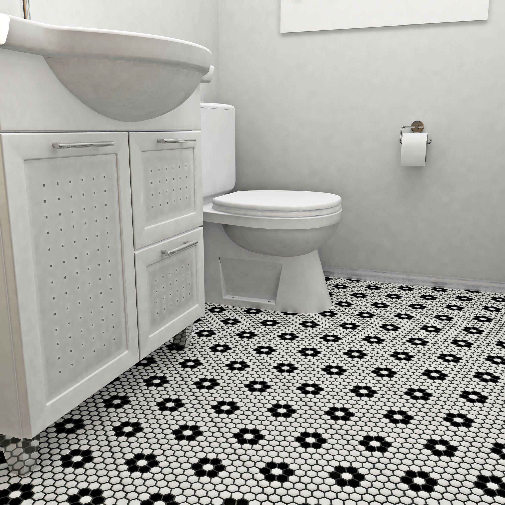 Elitetile Retro Hexagon 0 875 Quot X 0 875 Quot Porcelain Mosaic