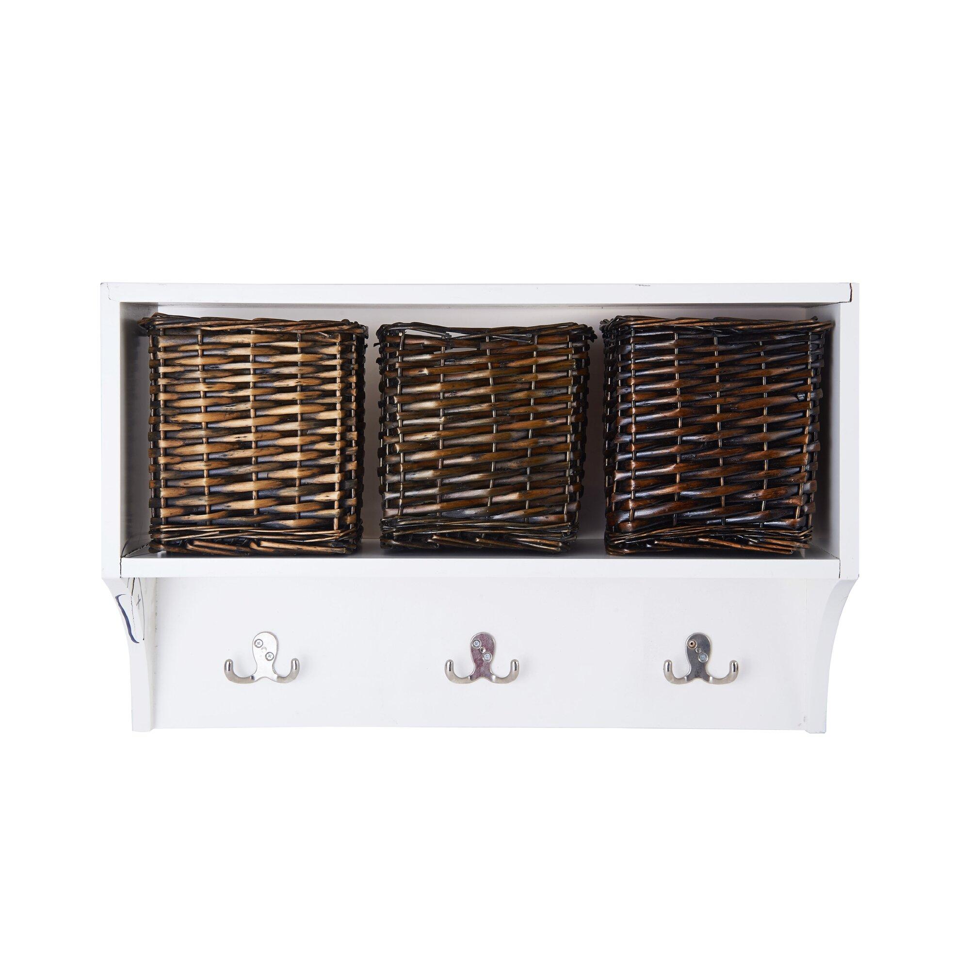 Melannco 3 Basket Wall Storage Coat Rack &amp Reviews Wayfair - Kitchen Cabinet Discounts