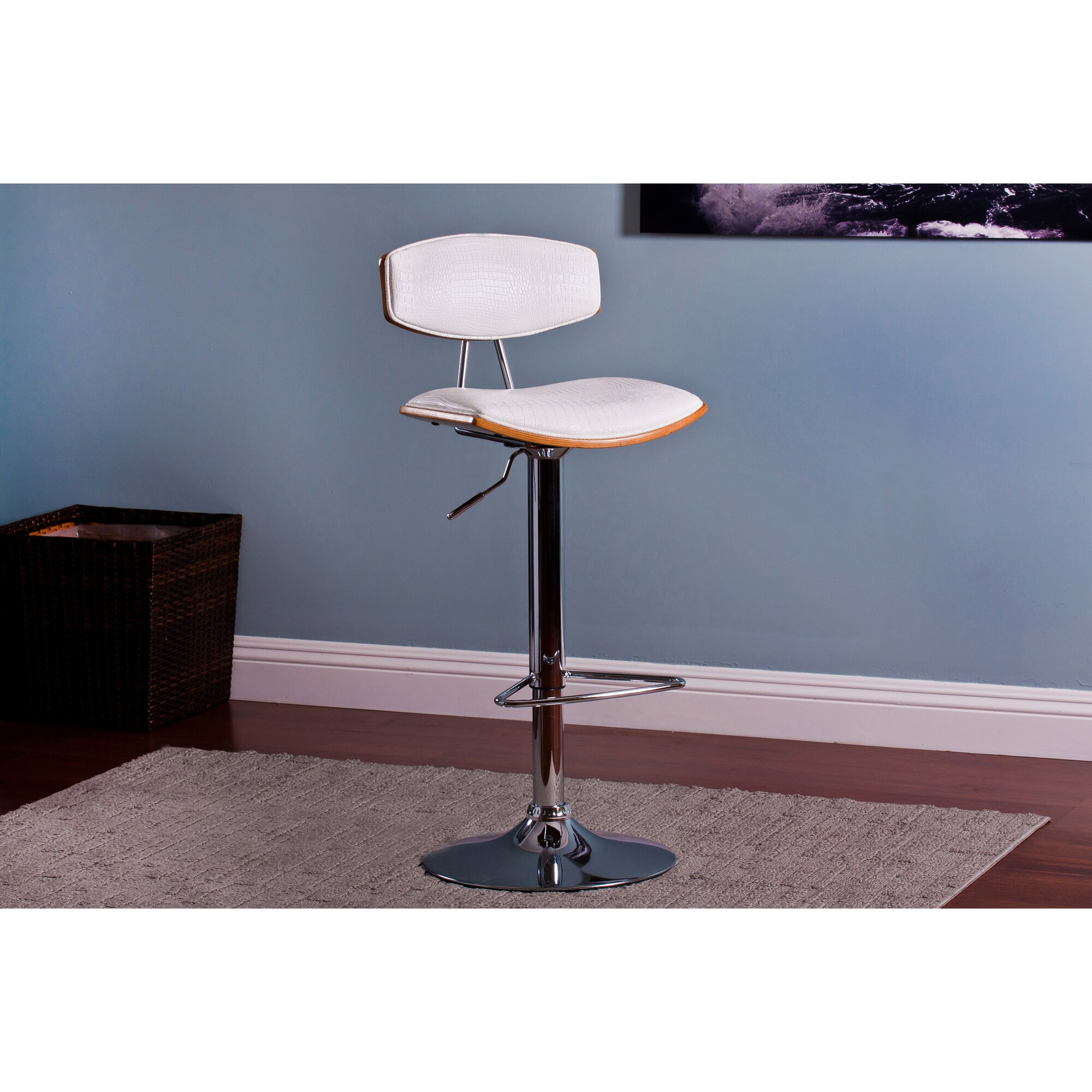 Ac Pacific Adjustable Height Swivel Bar Stool With Cushion