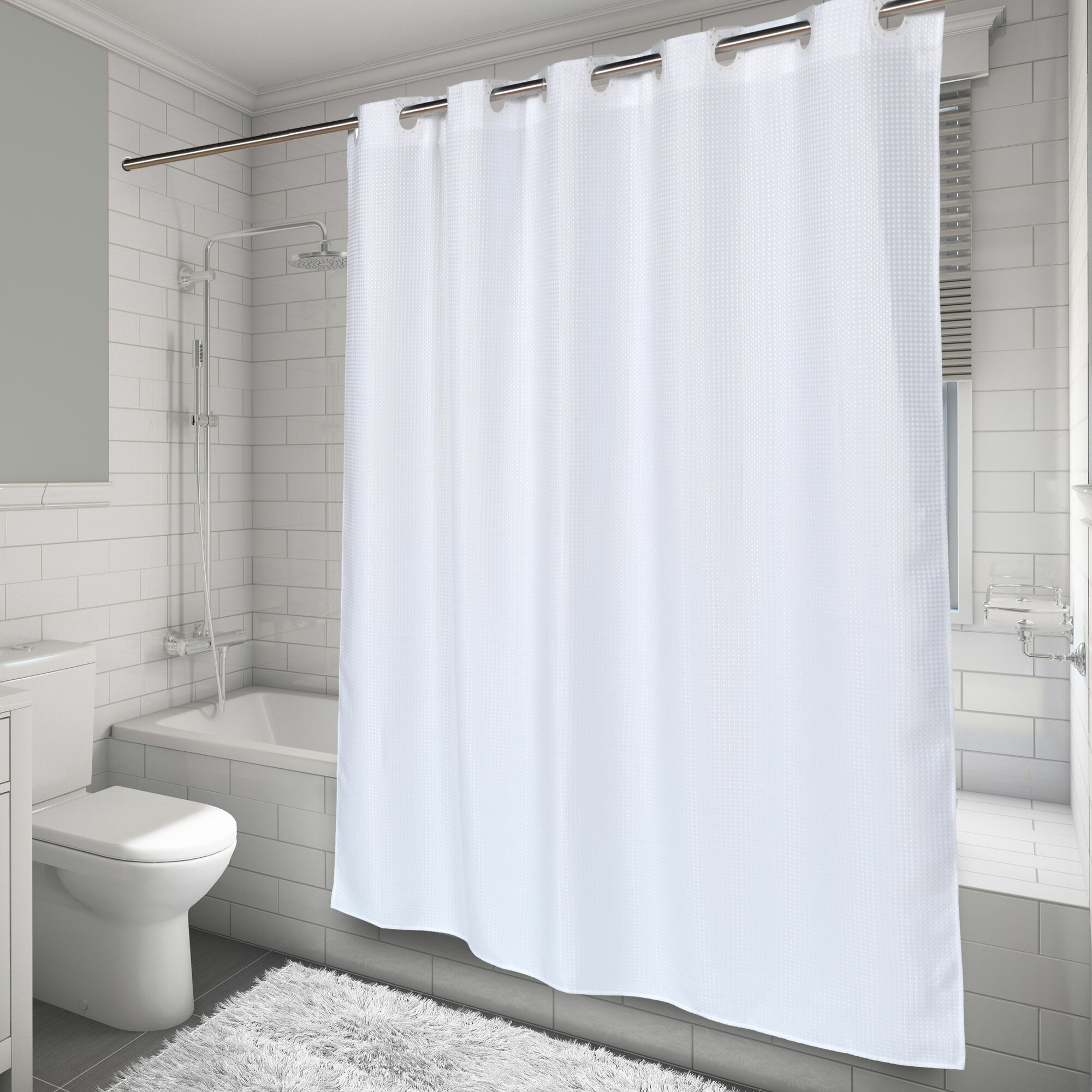 carnation home fashions ez on waffle weave shower curtain