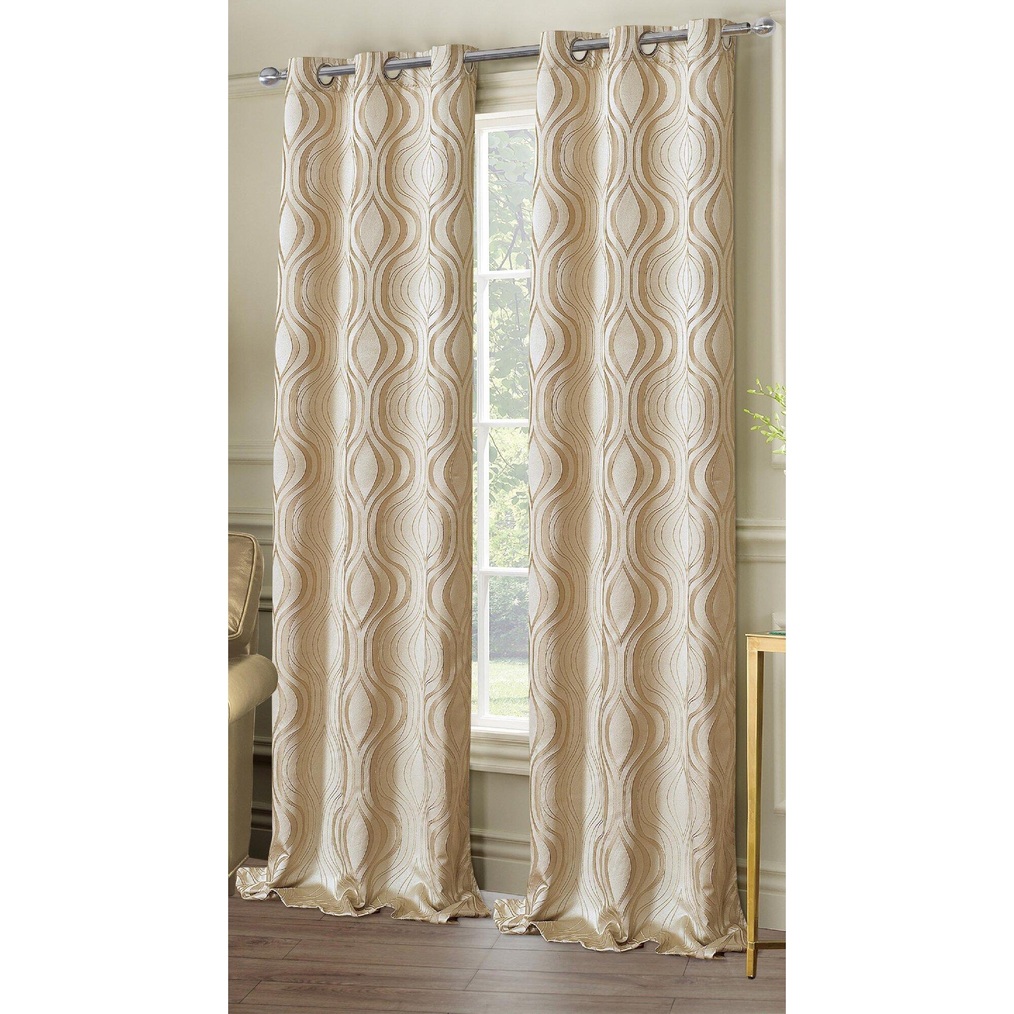 Dainty Home Symphony Geometric Semi Sheer Grommet Curtain