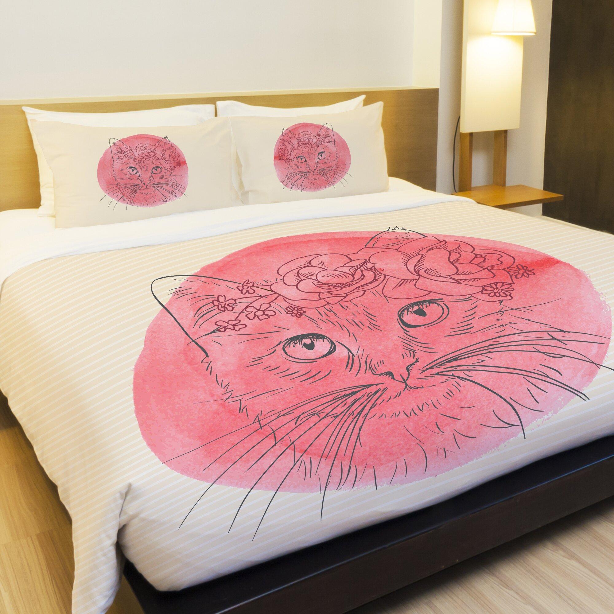 One Bella Casa Flower Crown Cat Fleece Duvet Cover