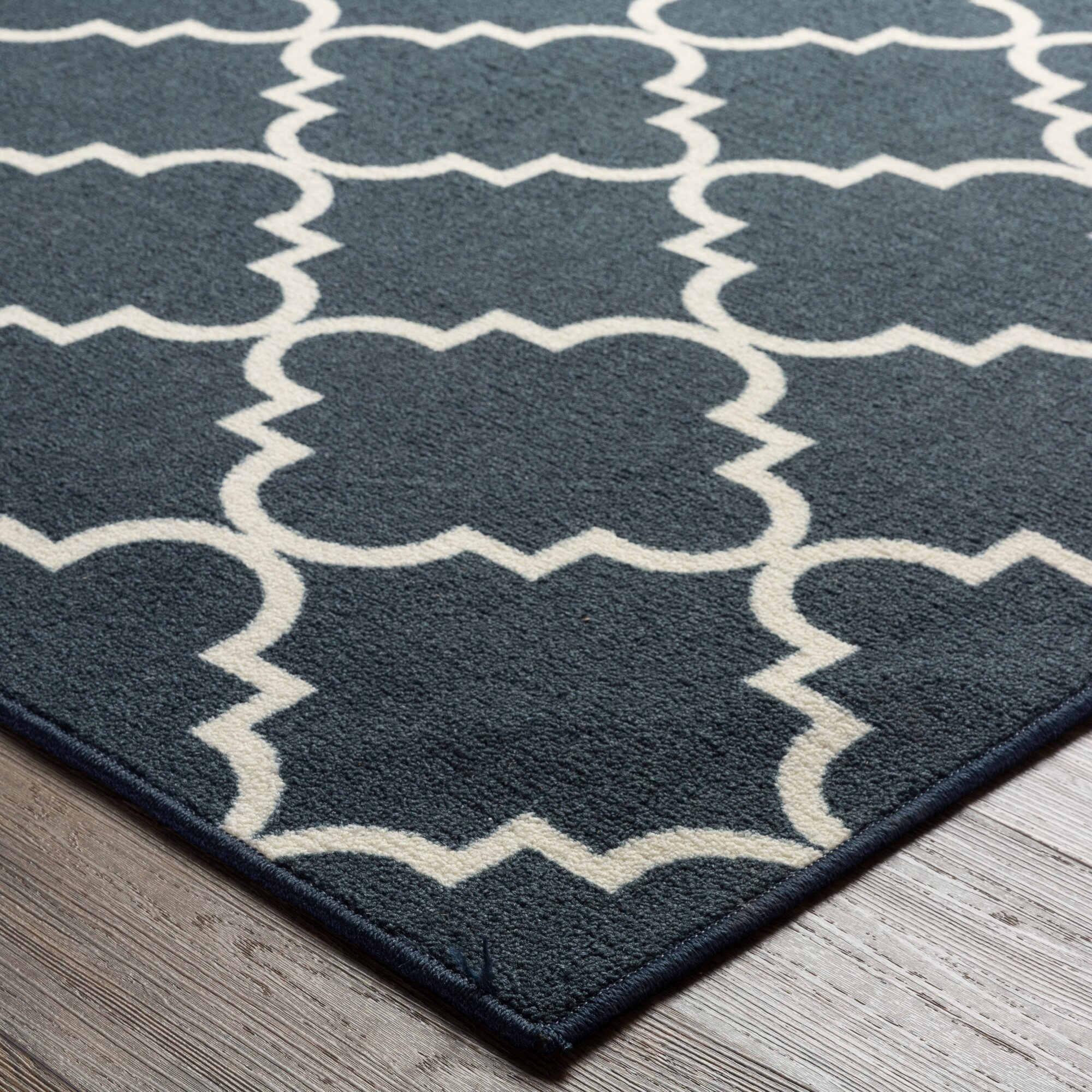 hanley navy blue white area rug reviews birch lane. Black Bedroom Furniture Sets. Home Design Ideas