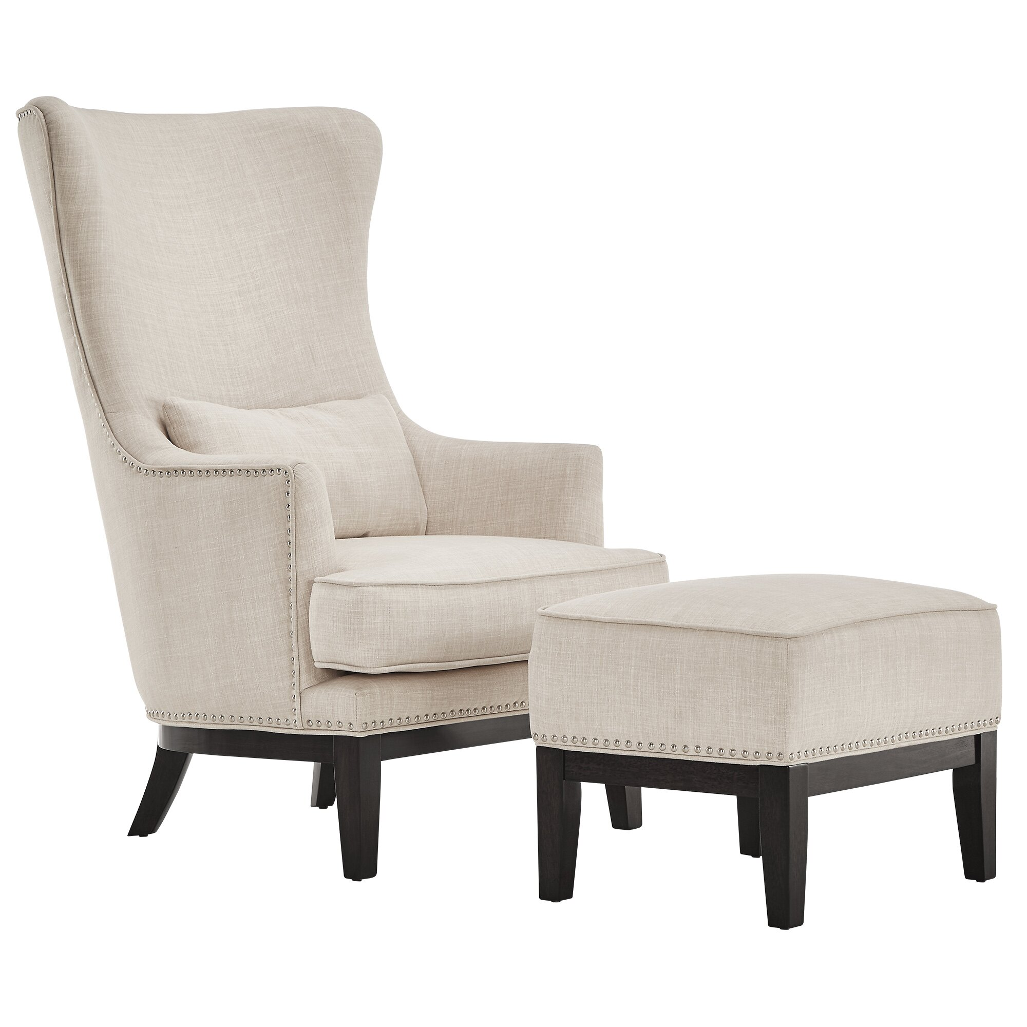 kingstown home matteo wing back chair and ottoman. Black Bedroom Furniture Sets. Home Design Ideas